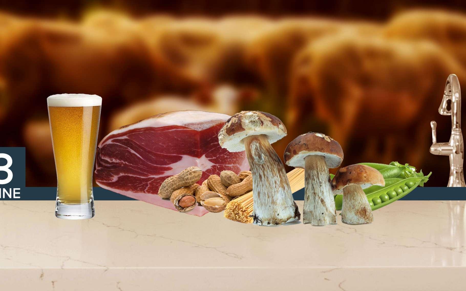 Champignons, petits pois, source de vitamine B3. © Fotolia