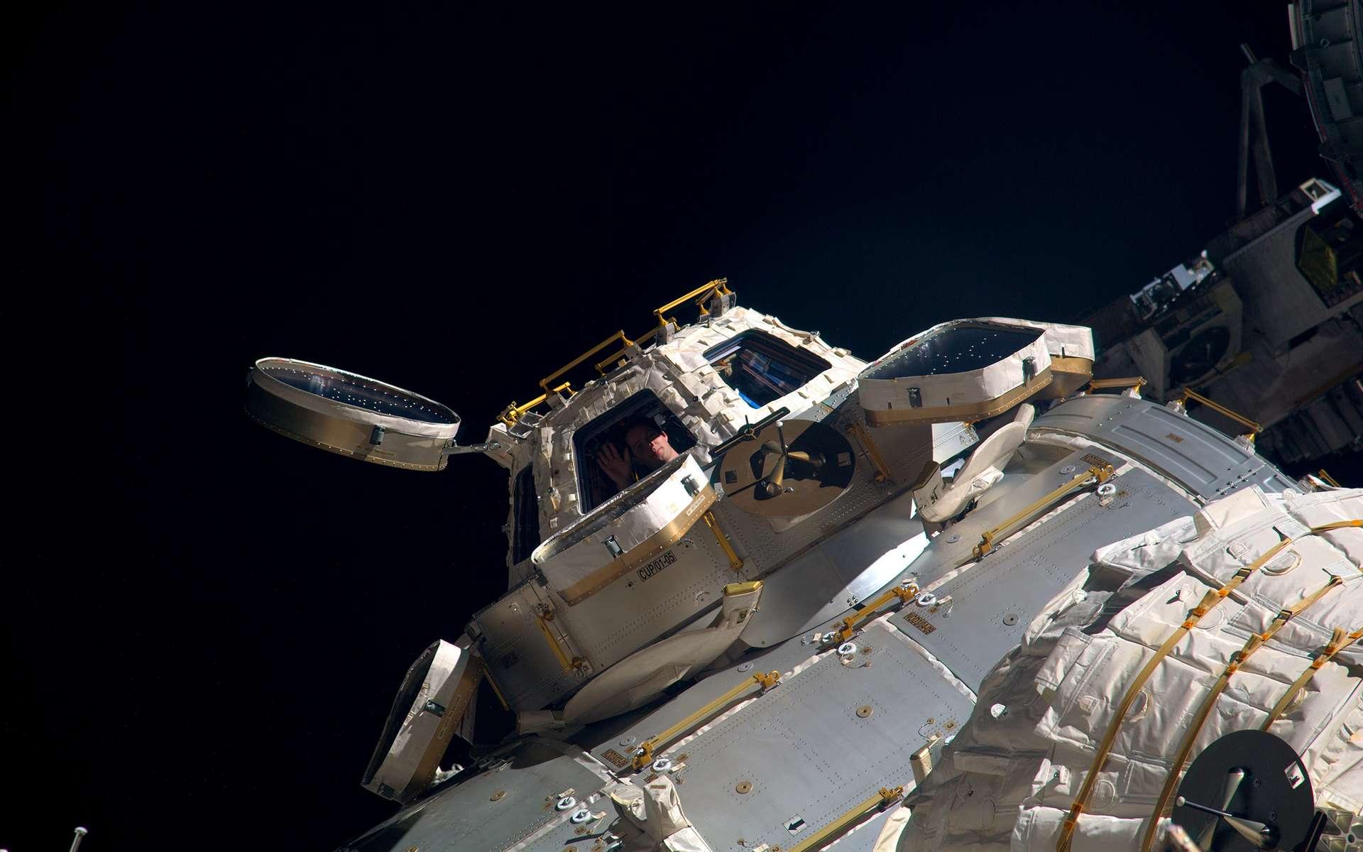 L'astronaute européen Thomas Pesquet à l'intérieur de la coupole d'où il peut piloter et contrôler le bras robotique de la Station spatiale internationale (mars 2017). © ESA, Nasa