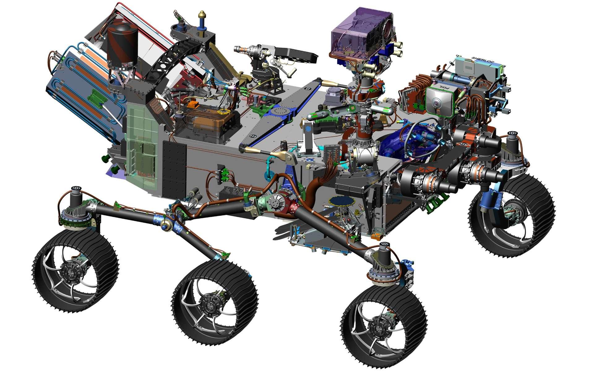 Le design définitif du rover 2020 hérite en partie de celui de Curiosity, que l'on voit ici, avec toutefois de nombreuses améliorations qui ont de quoi réjouir petits et grands : un microphone pour enregistrer le vent et les tirs à laser, un drone qui fera de fréquents allers-retours, ainsi qu'une unité ISRU pour générer de l'oxygène. © Nasa, JPL-Caltech