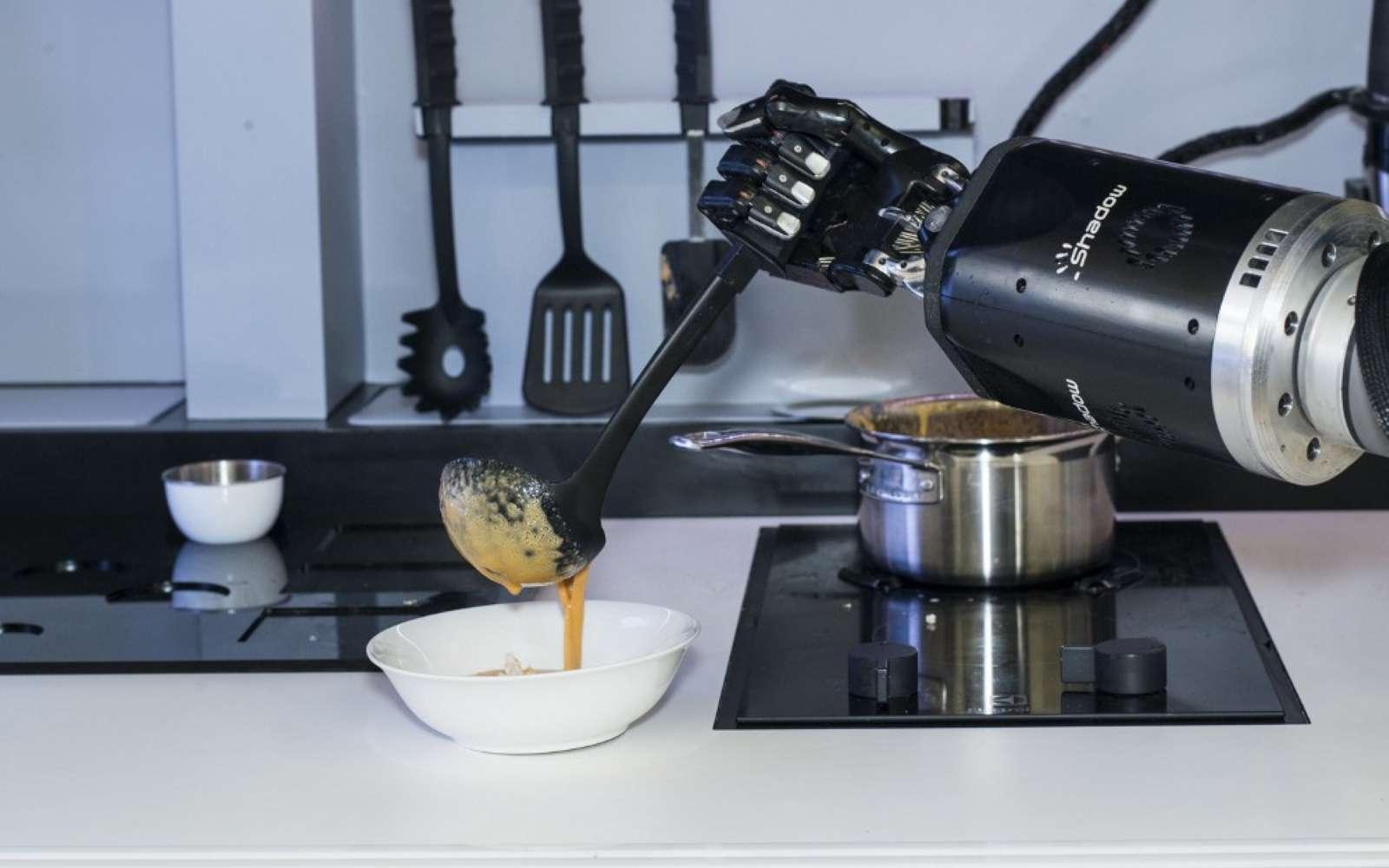 Le Moley Kitchen est doté de deux bras robotisés qui sont dotés de « mains » reproduisant fidèlement les mouvements des doigts humains. © Moley Robotocs