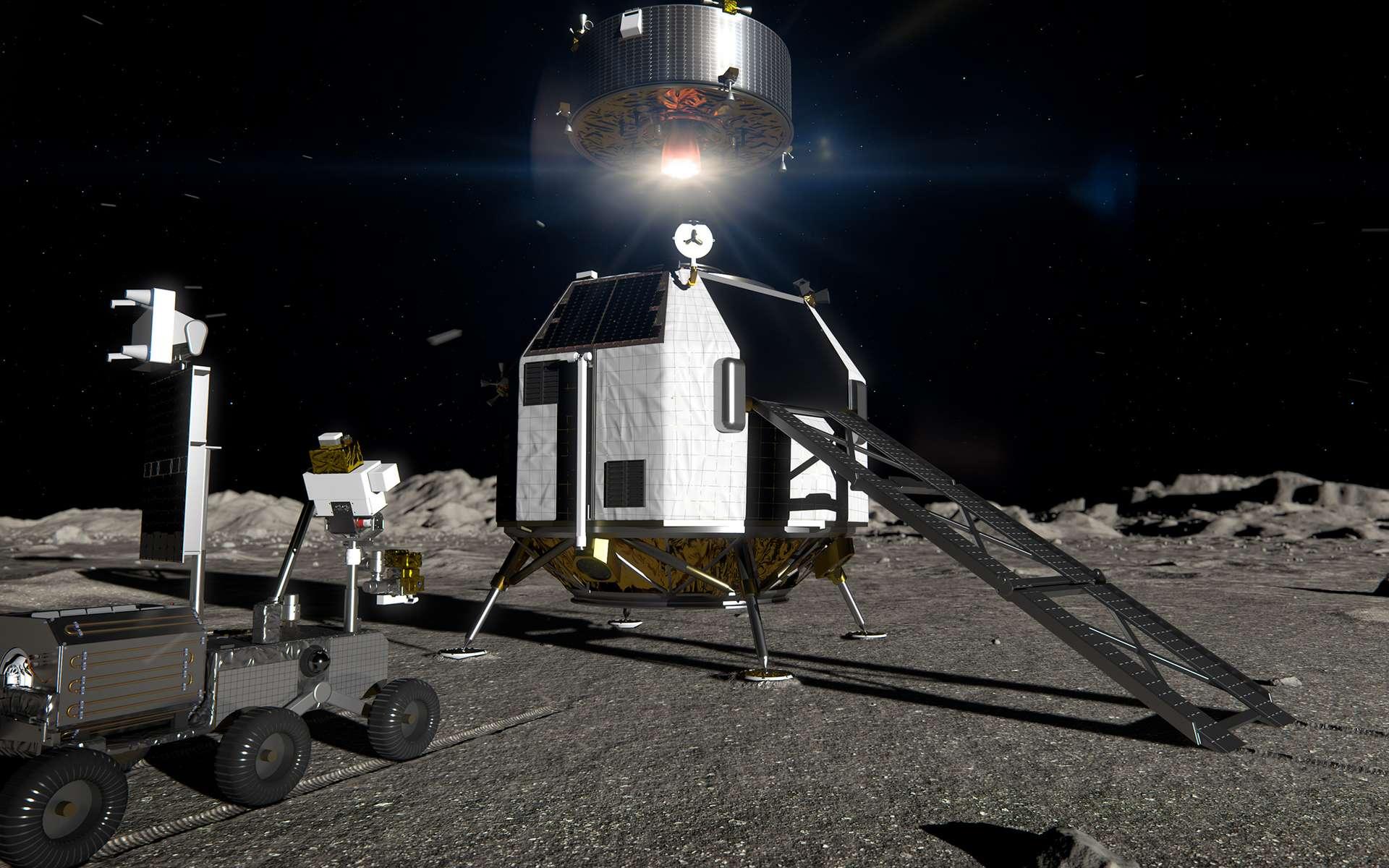 Concept d'alunisseur logistique lourd européen (EL3) capable de transporter jusqu'à 1,7 tonne de fret vers n'importe quel endroit de la surface lunaire. Ce lander pourrait être utilisé dans le cadre de mission Artemis de la Nasa ou pour des missions scientifiques propres à l'ESA. © ESA, ATG-Medialab
