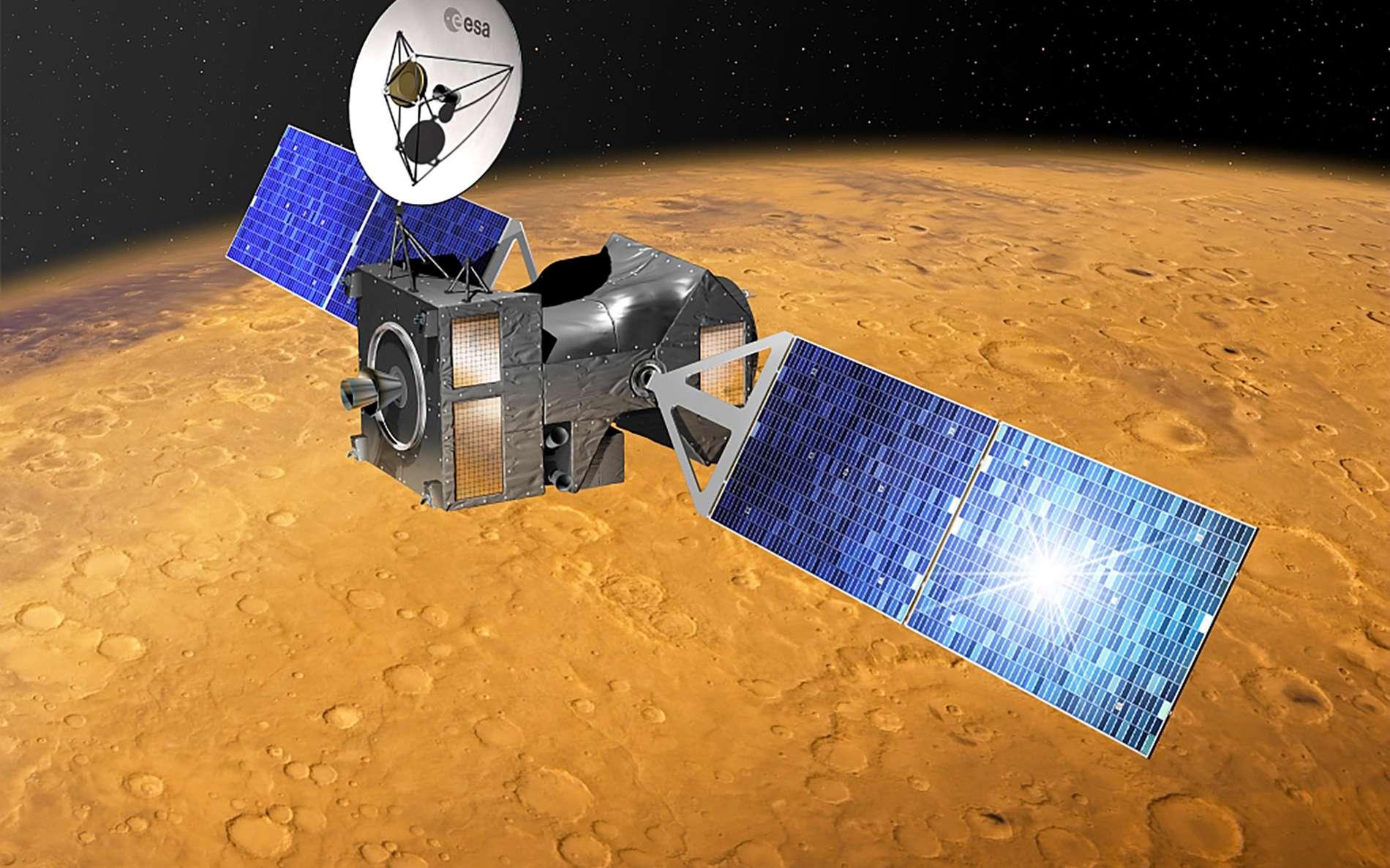 La sonde TGO de l'Agence spatiale européenne (mission ExoMars 2016) a été lancée en mars 2016 et a atteint Mars en octobre 2016. Elle a rejoint son orbite définitive autour de Mars en avril 2018, après une phase d'aérofreinage de plusieurs mois. © ESA, D. Ducros