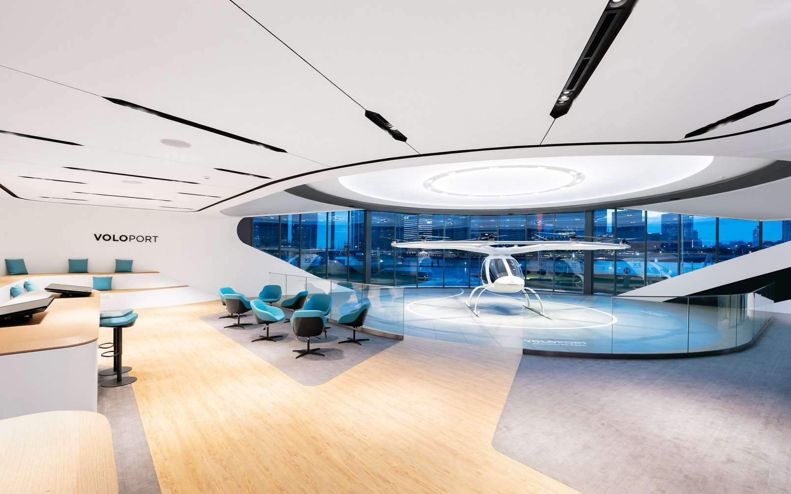 Voici à quoi ressemble l'intérieur du terminal VoloPort de Volocopter. © Volocopter