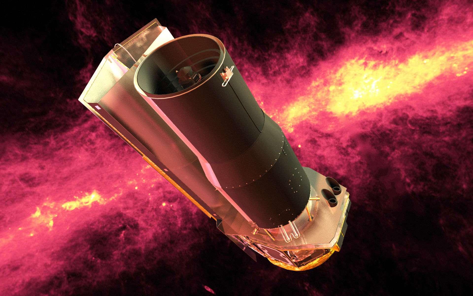 Le télescope spatial Spitzer porte des instruments sensibles aux infrarouges mis en orbite par la Nasa en 2003. Depuis 2009, à bout d'helium liquide (nécessaire au refroidissement), seuls deux instruments sont encore fonctionnels. © Nasa