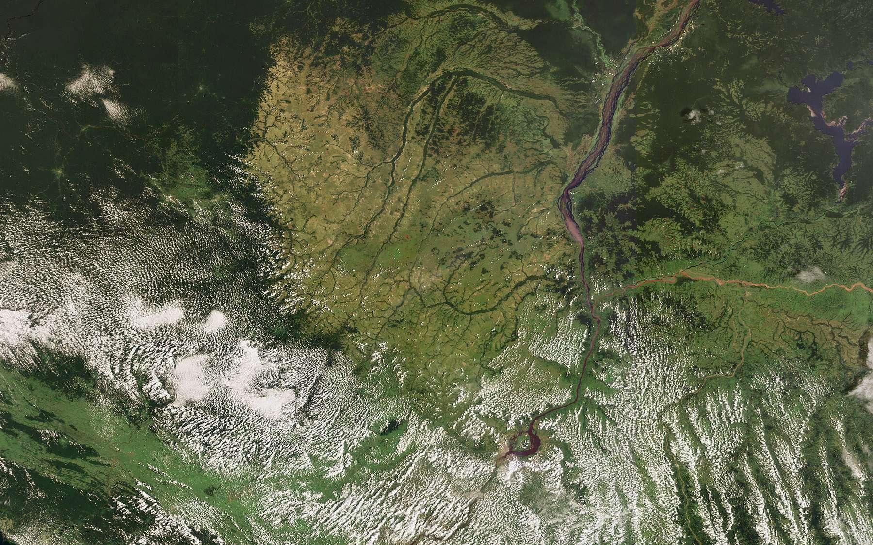Cette image a été réalisée par la caméra Meris (Medium Resolution Imaging Spectrometer) le 14 janvier 2009, en mode pleine résolution, qui permet de distinguer des détails de 300 m au sol. Crédit Esa