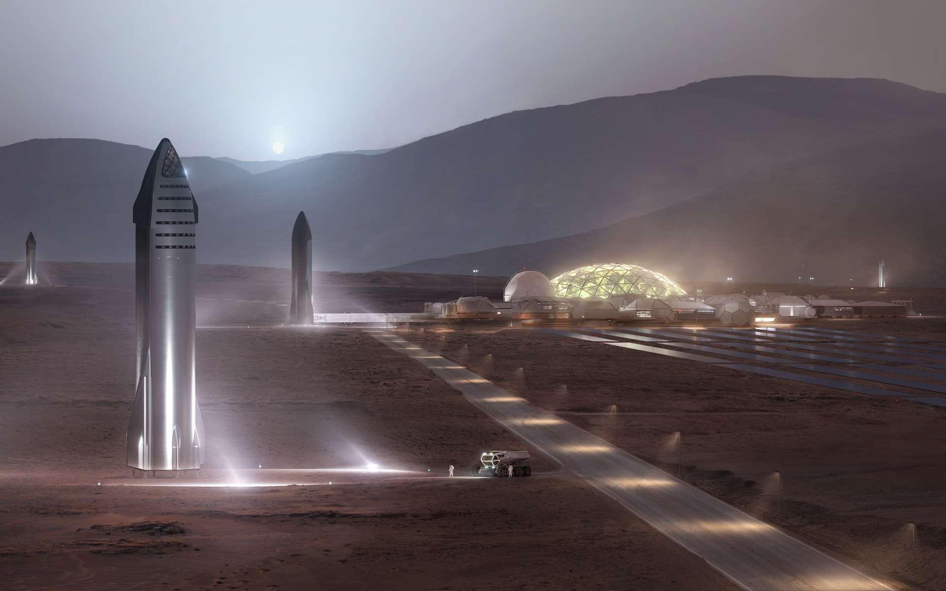 Vue d'artiste d'un concept de base martienne imaginé par SpaceX. © SpaceX