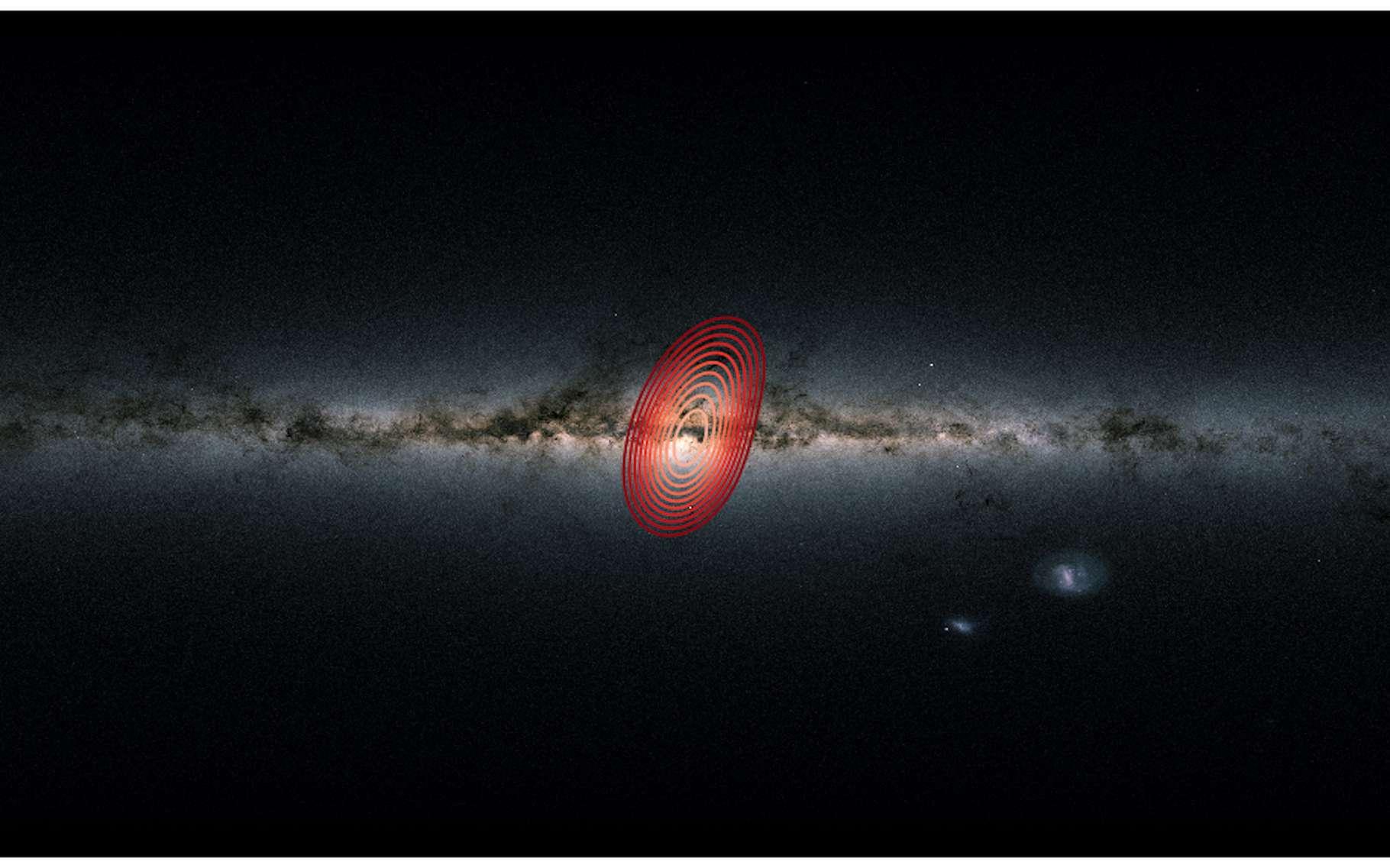 La Voie lactée telle que l'on peut la voir depuis la Terre. Les anneaux colorés montrent l'étendue approximative des étoiles issues d'une galaxie fossile que les astronomes ont baptisée Héraclès. © Danny Horta-Darrington, Université John Moores de Liverpool, ESA, Gaia et SDSS