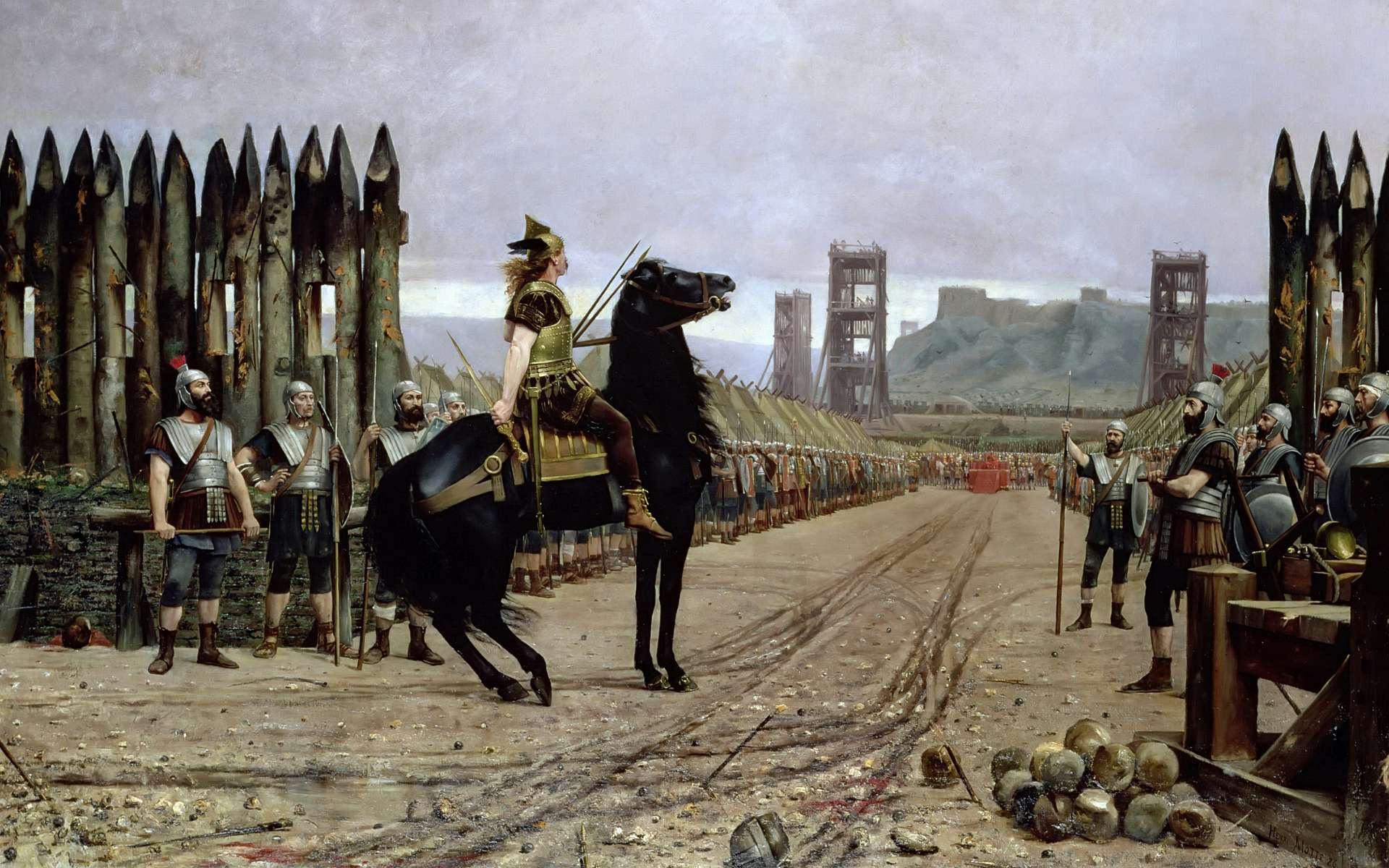 ''Vercingétorix se rend à César'', tableau d'Henri Paul Motte, en 1886. Musée Crozatier, Le Puy-en-Velay. © Wikimedia Commons, domaine public.