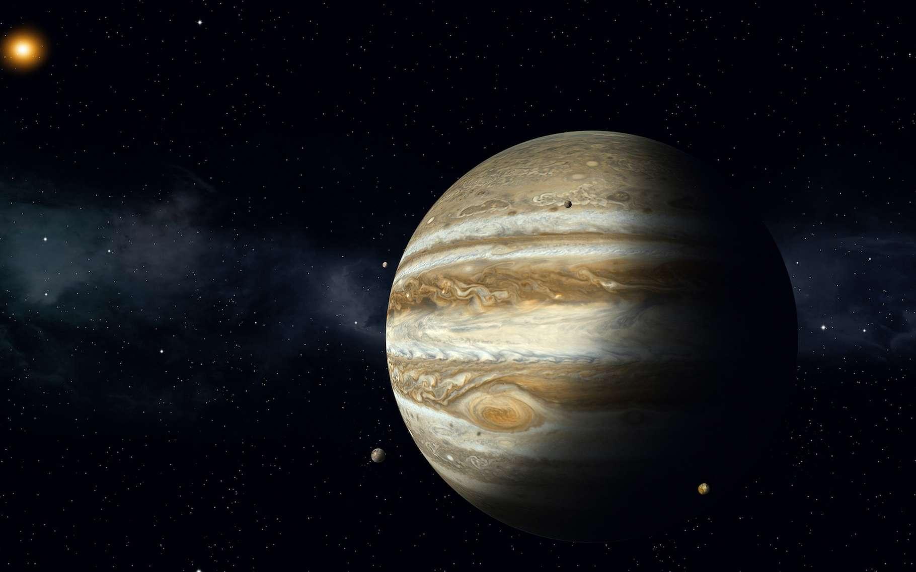 Selon de nouveaux travaux, l'étrange composition de l'atmosphère de Jupiter s'expliquerait par le fait que la planète s'est formée à l'ombre du Soleil. © alex_aldo, Adobe Stock
