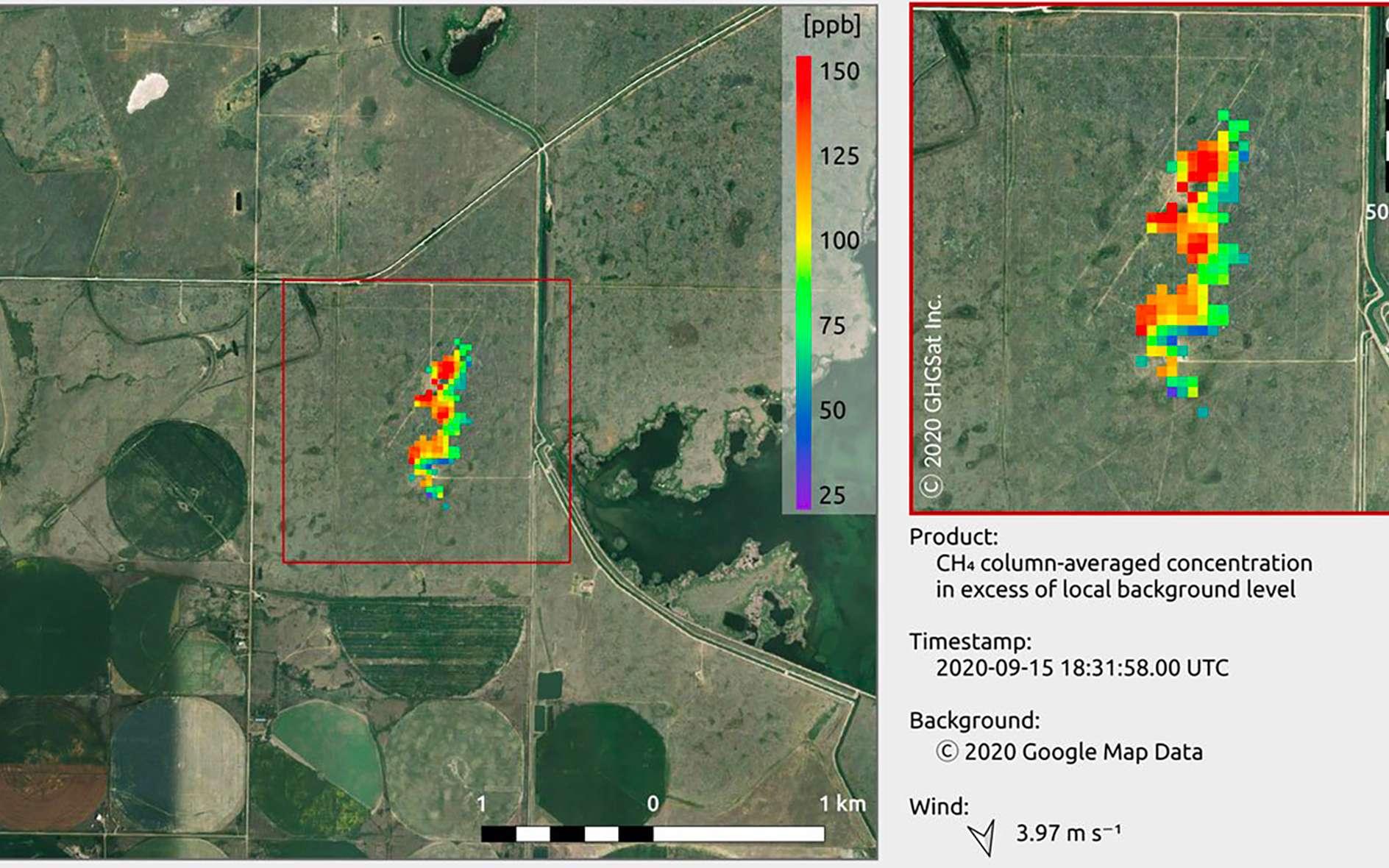 Premières données du deuxième satellite de surveillance des émissions de méthane de GHGSat. La performance du satellite (Iris) a été vérifiée avec le rejet contrôlé de méthane en Alberta au Canada. © GHGSat Inc