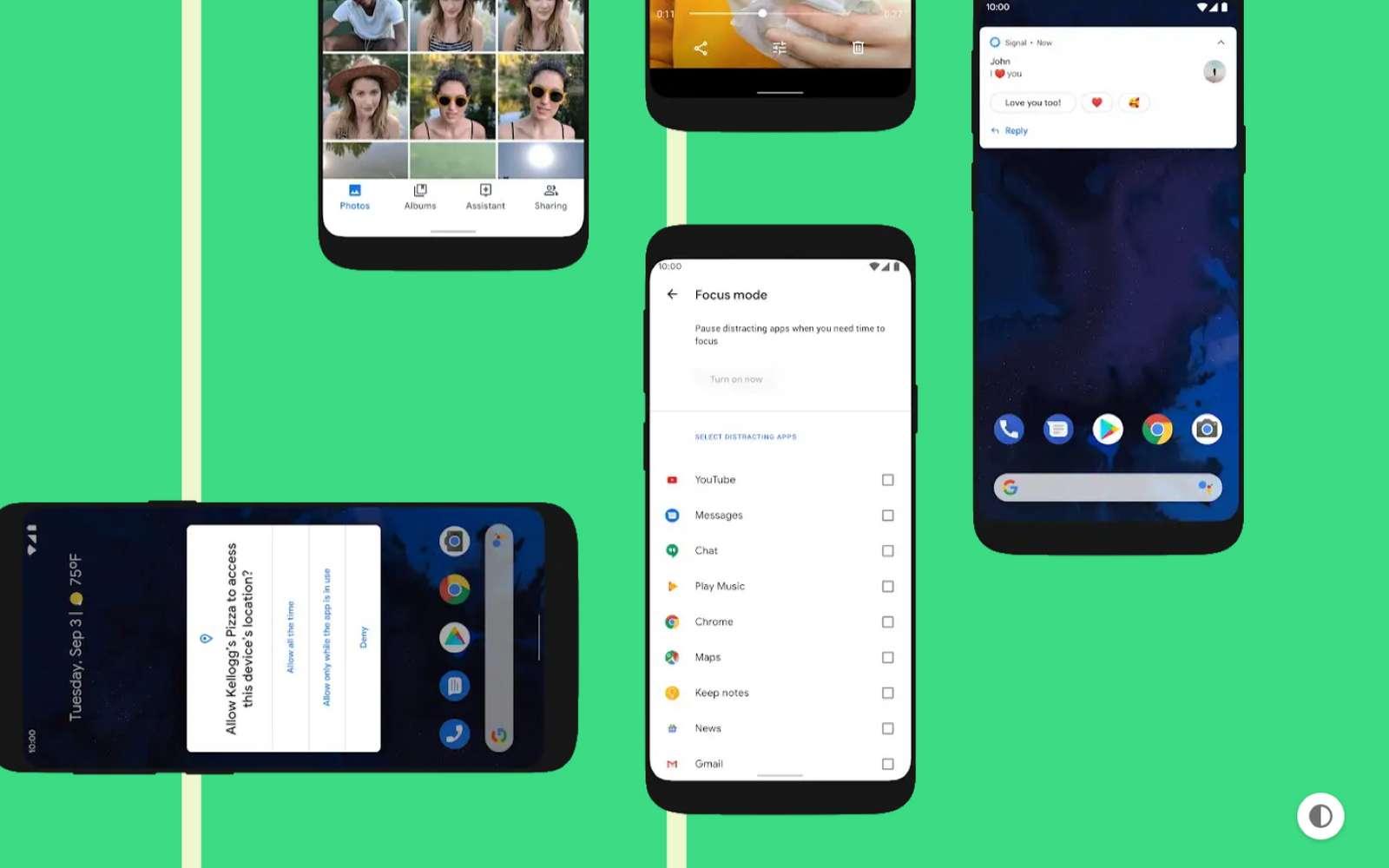 Les nouveautés sont nombreuses avec Android 10, mais la plus visible reste l'utilisation de gestes à la place des boutons virtuels sur l'écran. La sécurité est aussi renforcée. © Futura