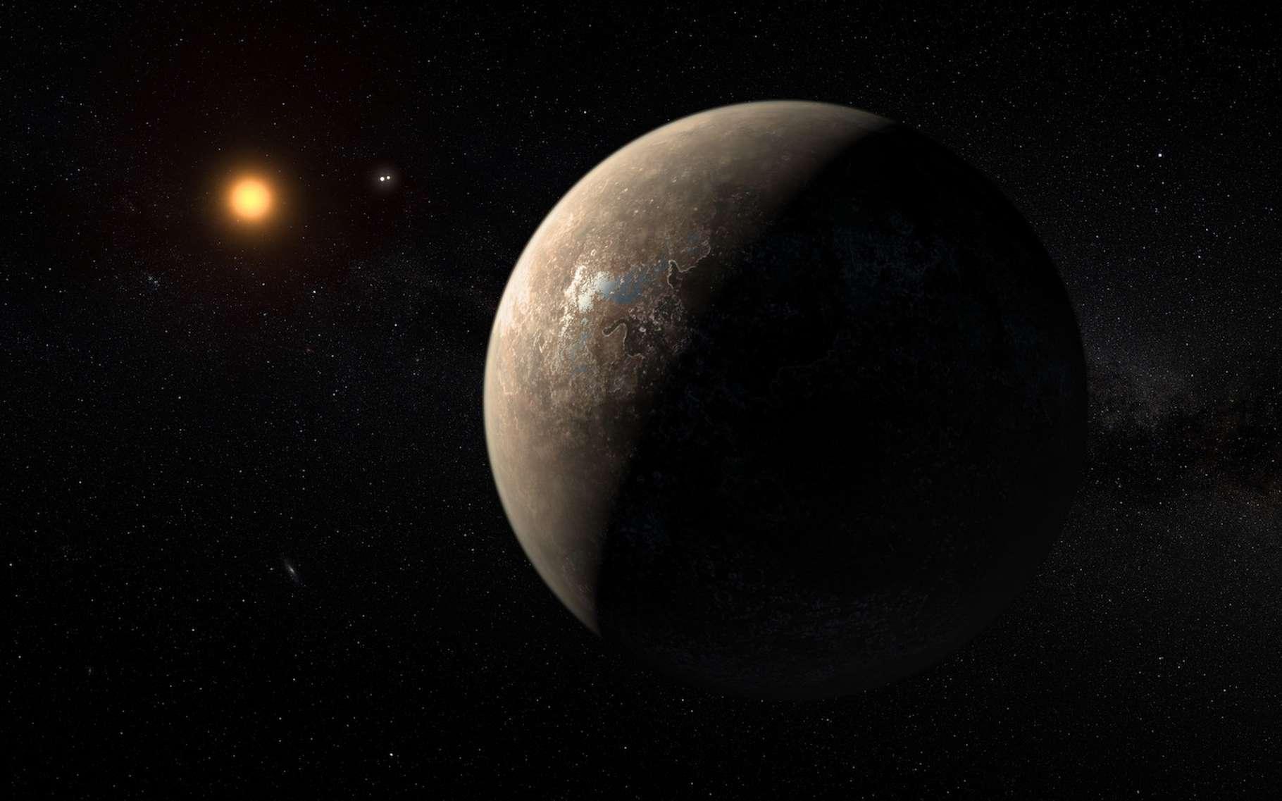La naine rouge Proxima du Centaure est l'étoile la plus proche de notre Système solaire. Sur cette vue d'artiste, c'est l'exoplanète Proxima b qui est présentée. Avec entre la planète et son étoile, le système d'étoiles doubles Alpha Centauri AB. Mais c'est de l'existence d'une deuxième exoplanète autour de Proxima du Centaure que des astronomes pourraient aujourd'hui avoir obtenu confirmation. © M. Kornmesser, ESO