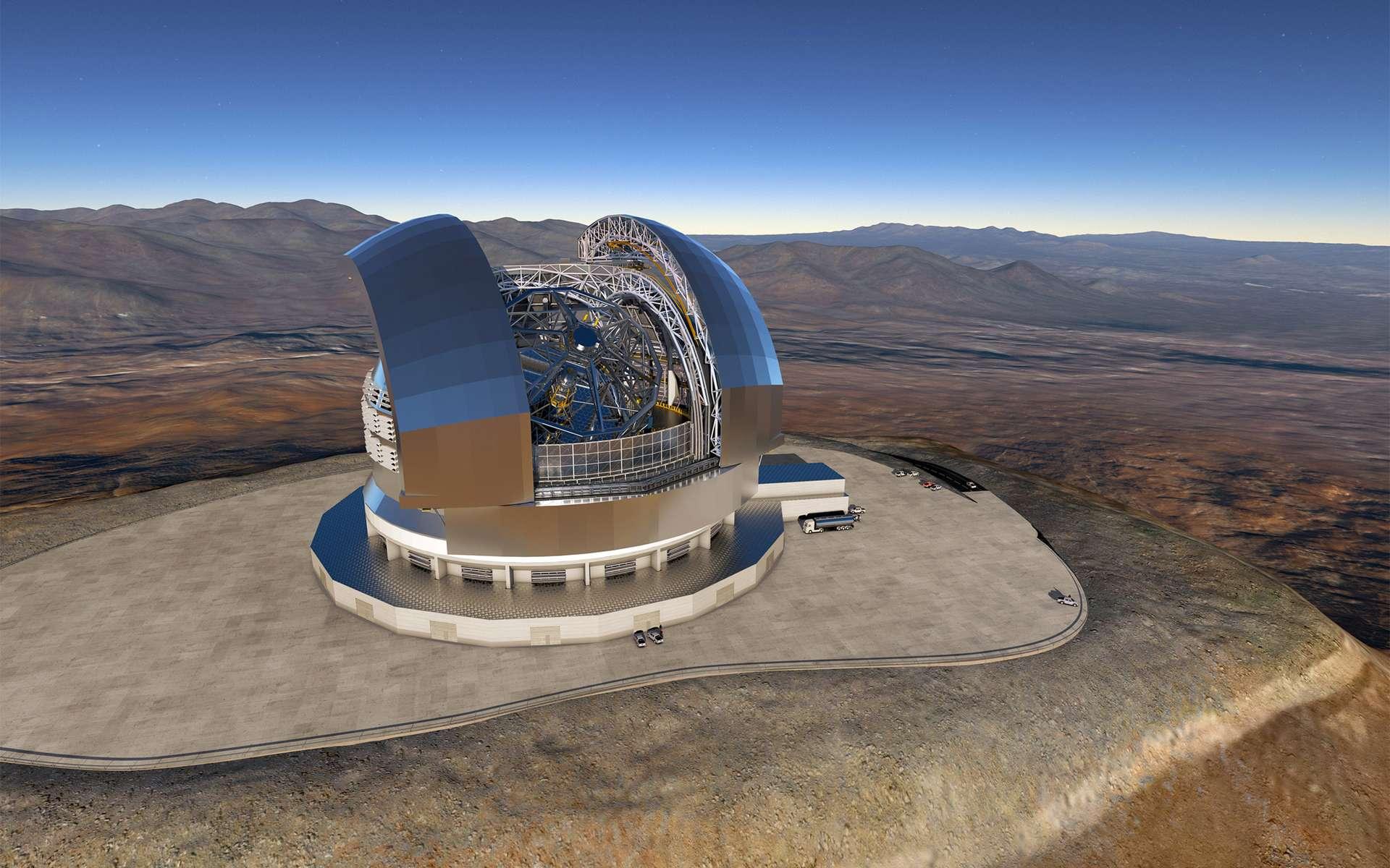 Vue d'artiste du télescope géant de l'ESO (E-ELT), dont la construction a débuté au Chili. Cet observatoire, doté d'un miroir primaire de 39 mètres, sera installé au sommet du Cerro Armazones. Sa mise en service et ses premières lumières sont prévues en 2026. © ESO