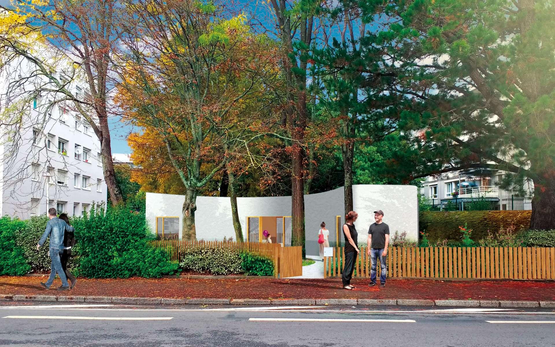 Une maison imprimée en 3D à Nantes : une première grâce à Bâtiprint. Ici, la maison, quand elle sera terminée, reconnaissable à ses formes arrondies. © TICA