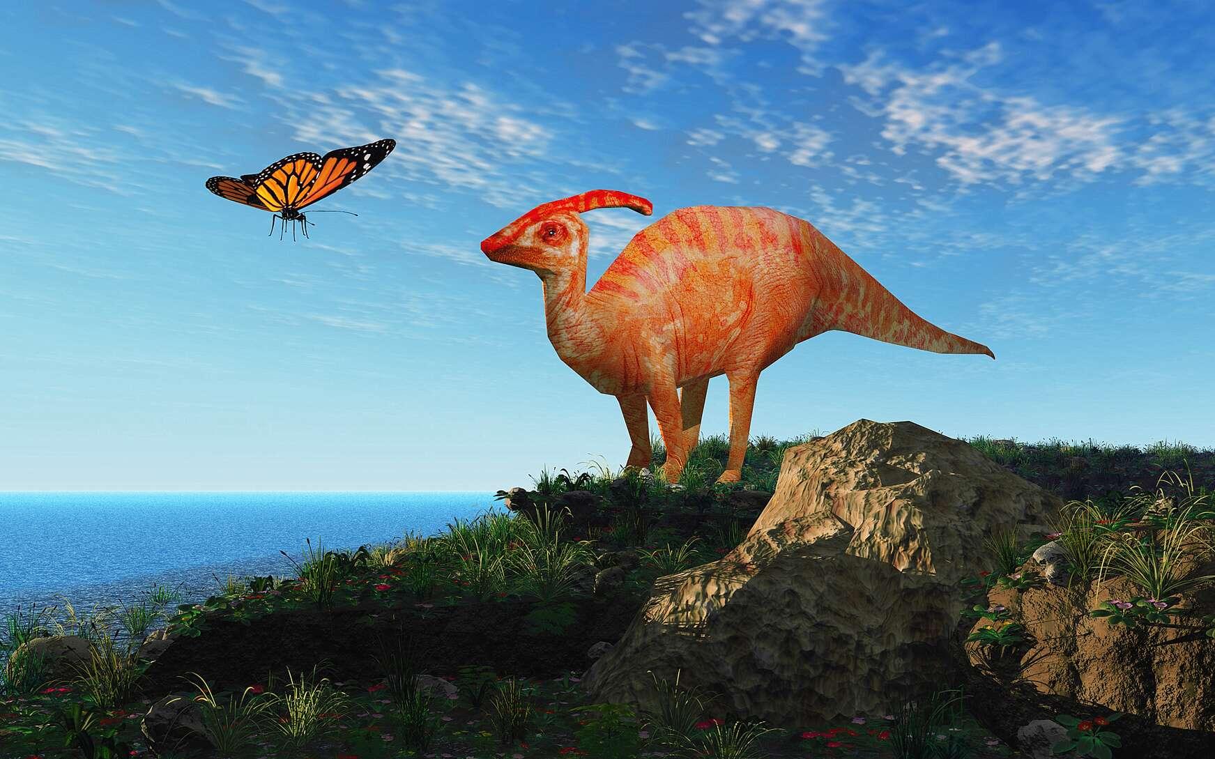 Vue d'artiste d'un hadrosaure, cette famille de grands dinosaures à bec de canard. © Erica Guilane-Nachez, Fotolia