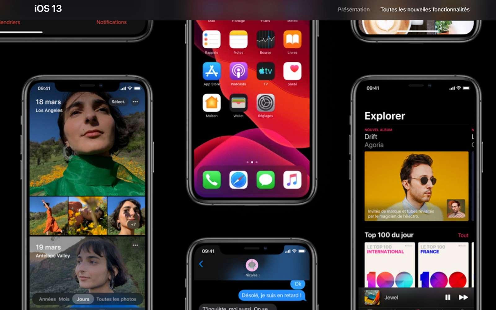 Présent sur les nouveaux iPhone, iOS 13 arrive le 19 septembre sur la plupart des iPhone récents. © Apple