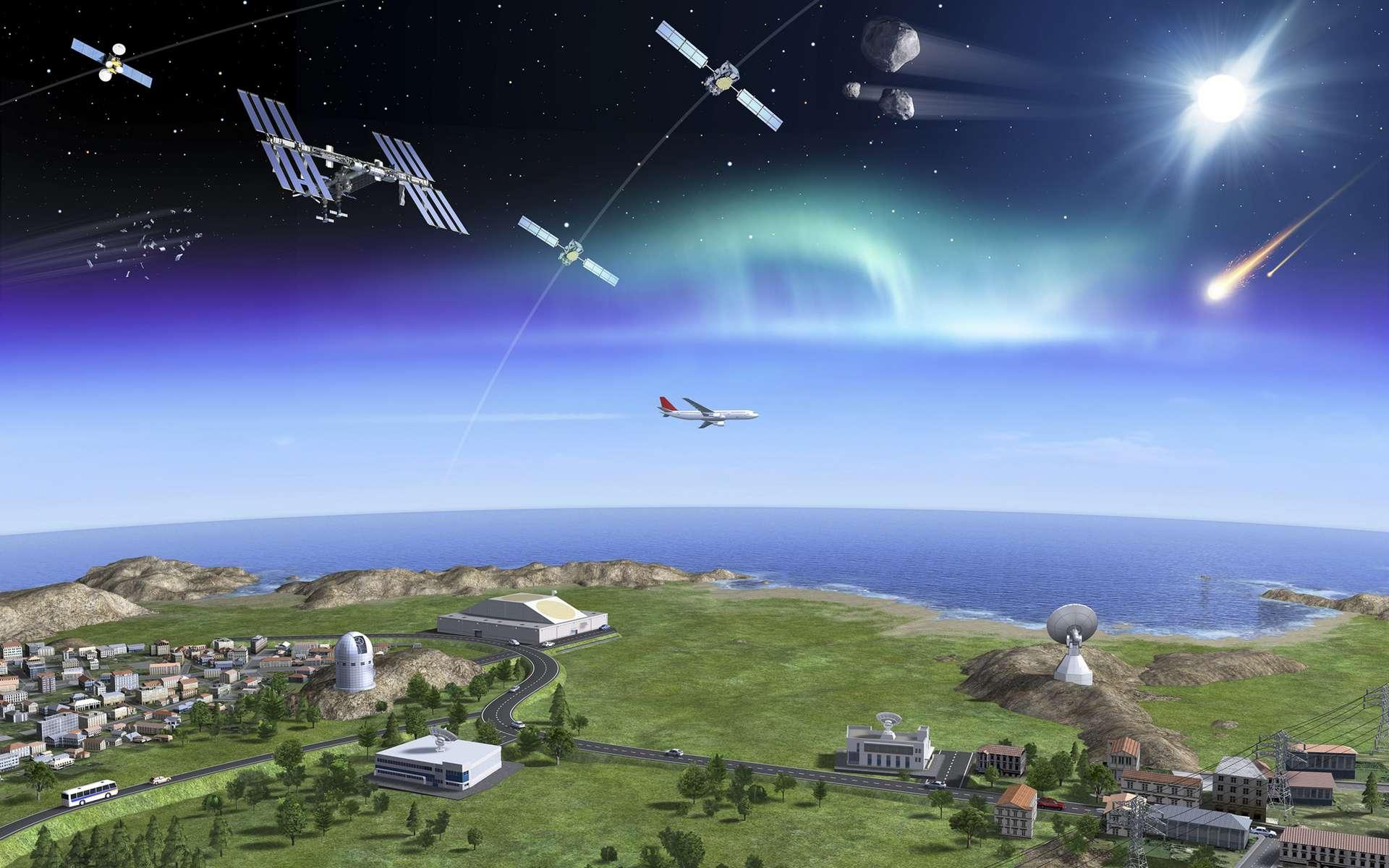La surveillance de l'ESA s'appuie sur des radars et des télescopes. Les radars sont très efficaces pour caractériser les objets artificiels en orbite basse, de 250 à 1.000 kilomètres d'altitude. Au-delà, et jusqu'à 36.000 kilomètres, les télescopes optiques sont mieux adaptés. © P. Carril, ESA