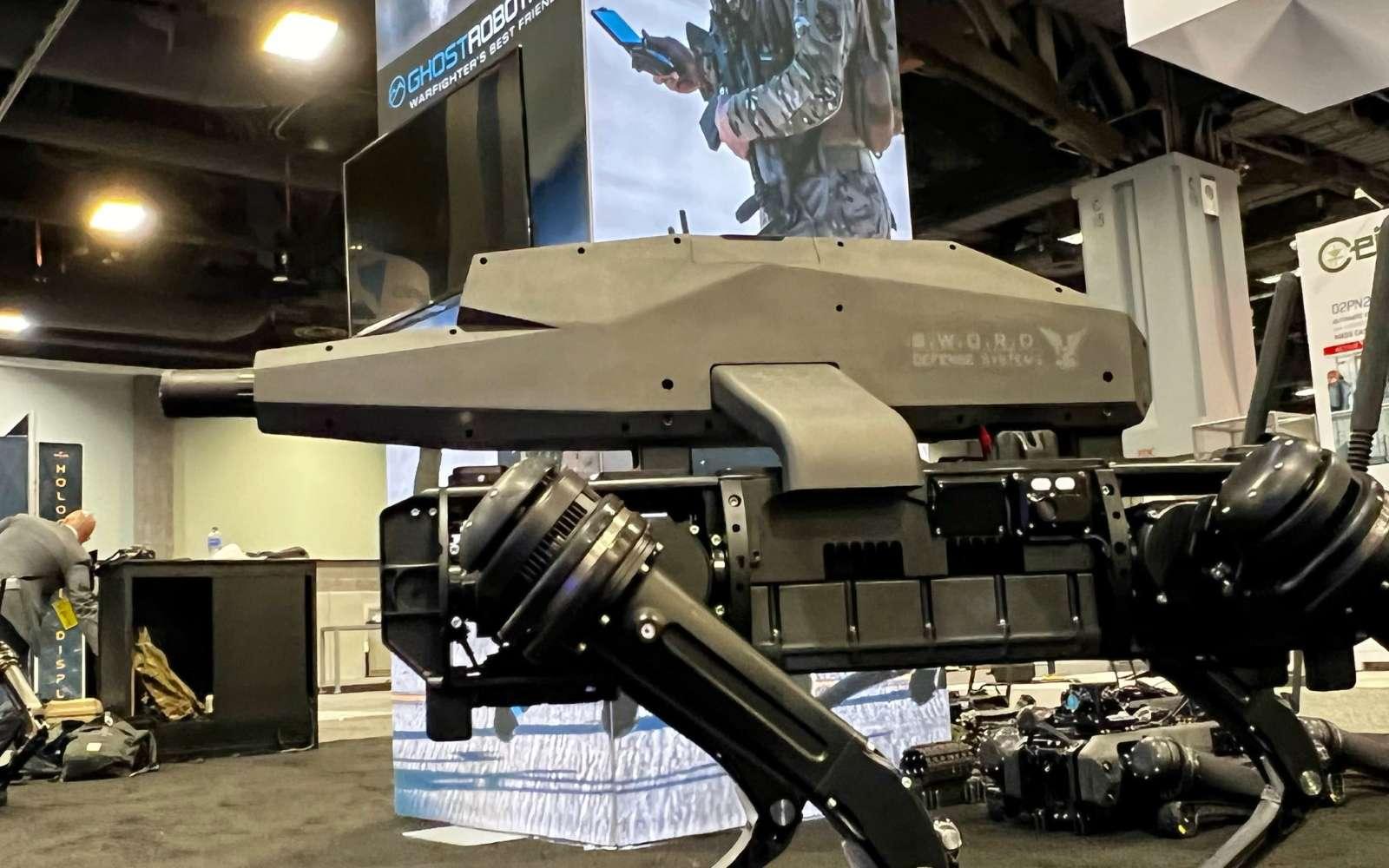 Un robot-chien armé d'un fusil d'assaut, voici la proposition de Ghost Robotics pour l'armée américaine. © Ghost Robotics