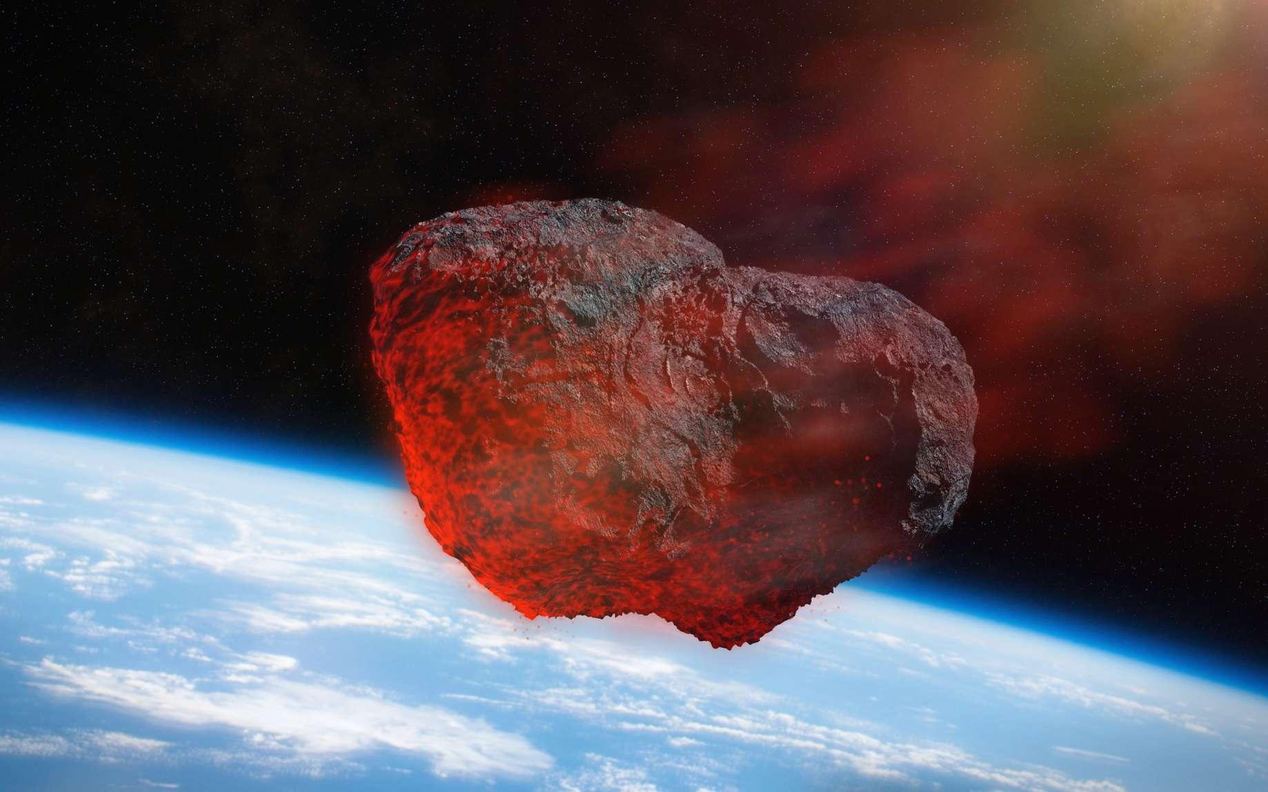 Illustration d'un astéroïde pénétrant dans l'atmosphère terrestre. © dottedyeti, fotolia