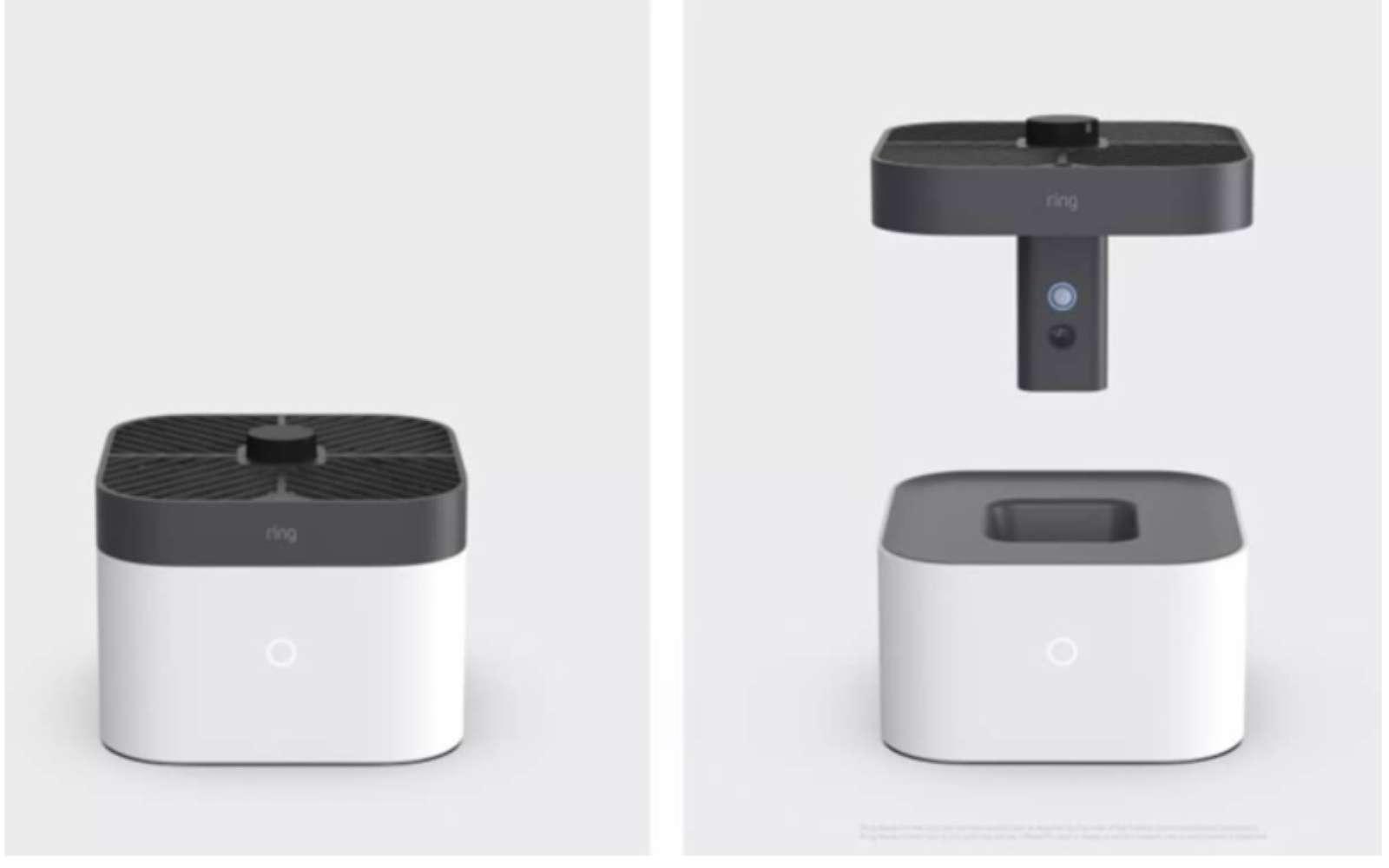 Ce boîtier enferme un petit drone doté d'une caméra pour surveiller l'habitation en cas d'intrusion. © Ring Amazon