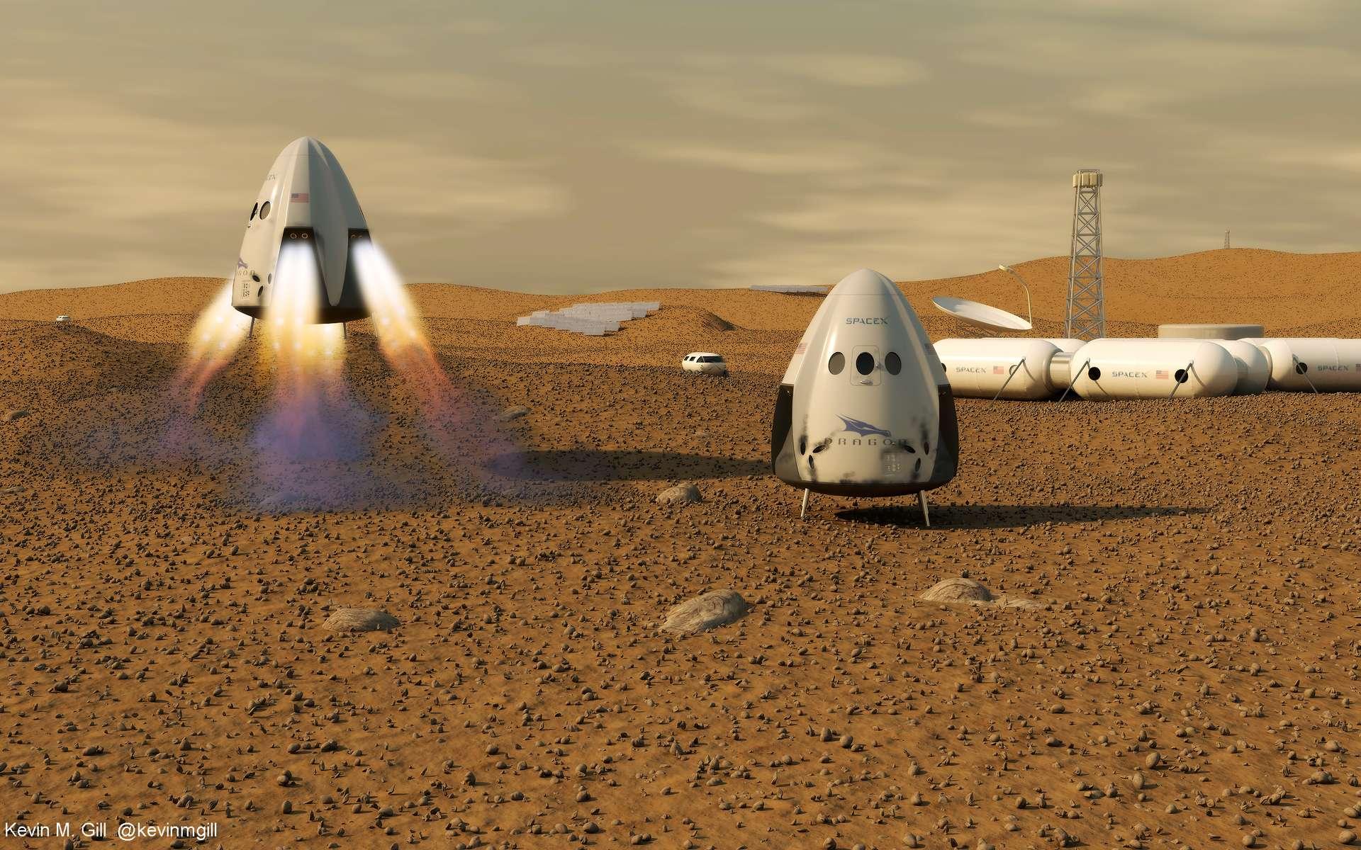 Une image d'artiste de la colonisation de Mars par SpaceX. © Kevin M. Gill