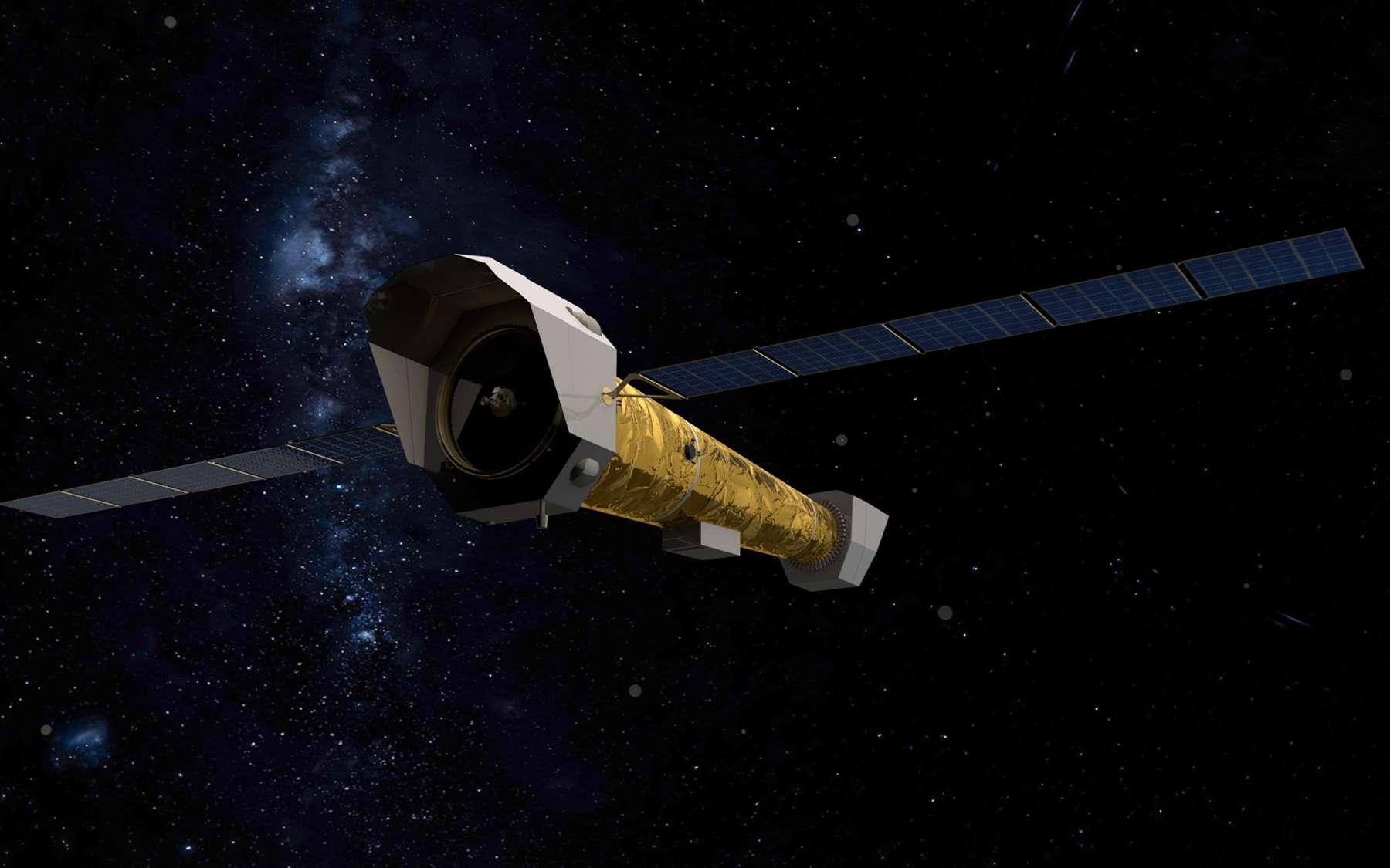 Vue d'artiste d'Athena, le futur observatoire spatial européen qui fonctionnera dans le X et sera lancé à l'horizon 2030. © ESA, Irap