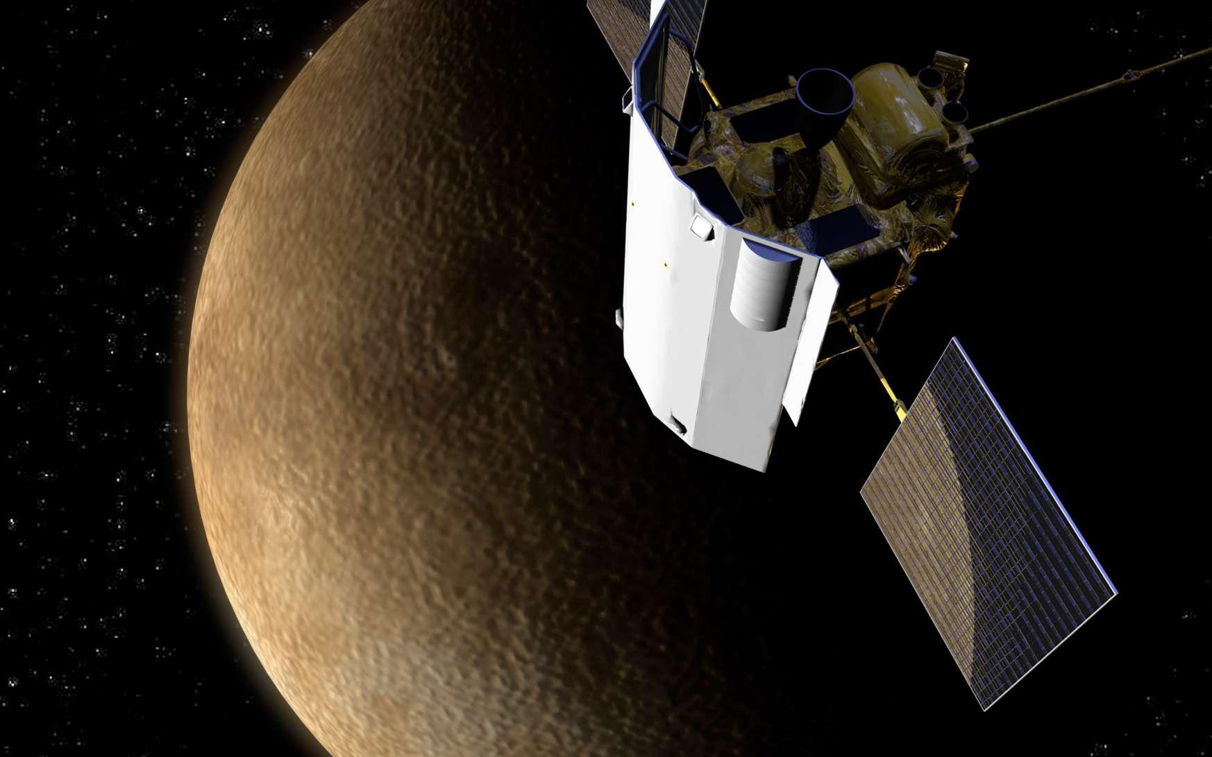 Après un lancement en août 2004, Messenger a survolé la Terre et Vénus deux fois de façon à fournir à la sonde l'incrément de vitesse lui permettant d'atteindre l'orbite de Mercure en janvier 2008. Pour freiner et insérer la sonde en orbite, la Nasa a planifié trois survols de Mercure, ce qui doit permettre la mise en orbite de Messenger le 17 mars 2011. © Nasa/Johns Hopkins University Applied Physics Laboratory / Carnegie Institution of Washington