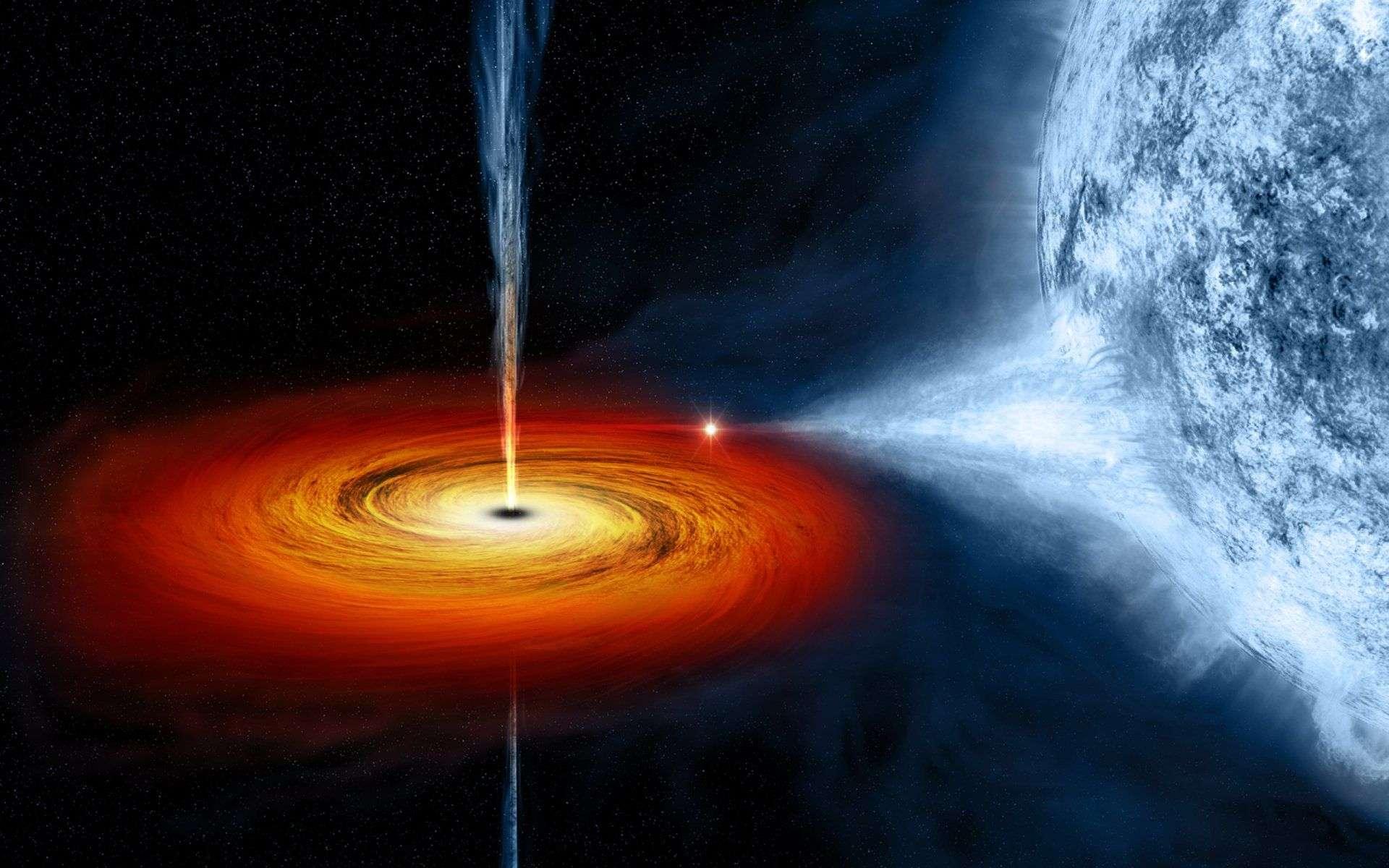 Une vue d'artiste d'un trou noir stellaire avec le disque d'accrétion qu'il arrache avec ses forces de marée à une étoile compagne. Une partie de la matière accrétée ne traverse pas l'horizon des événements et est éjectée sous forme de jets. © Nasa, CXC, M.Weiss