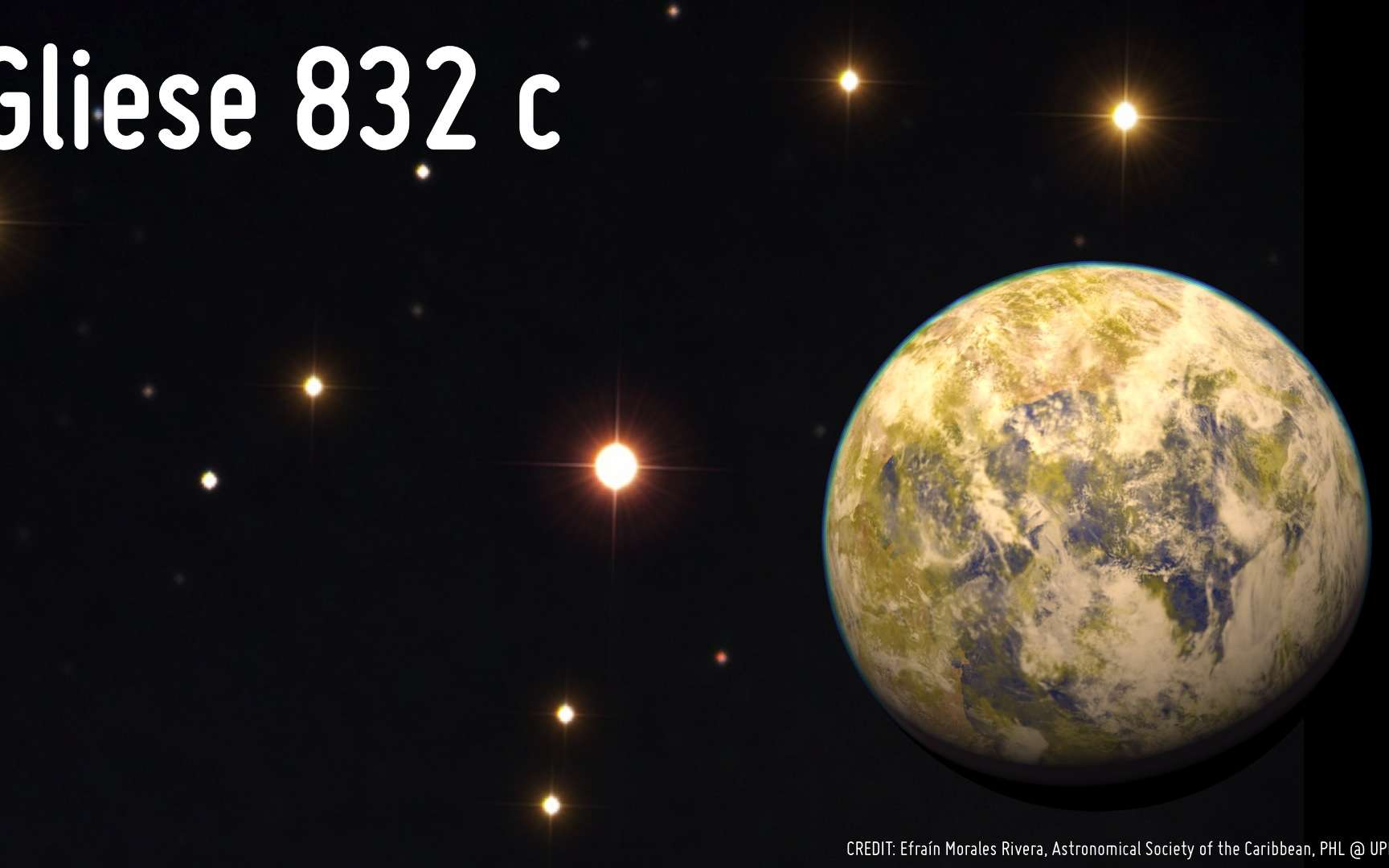 Illustration de la superterre Gliese 832c. À l'arrière-plan : photo de Gliese 832, naine rouge visible dans la constellation australe de la Grue, à 16 années-lumière de la Terre. © Efraín Morales Rivera (Astronomical Society of the Caribbean), PHL, UPR Arecibo