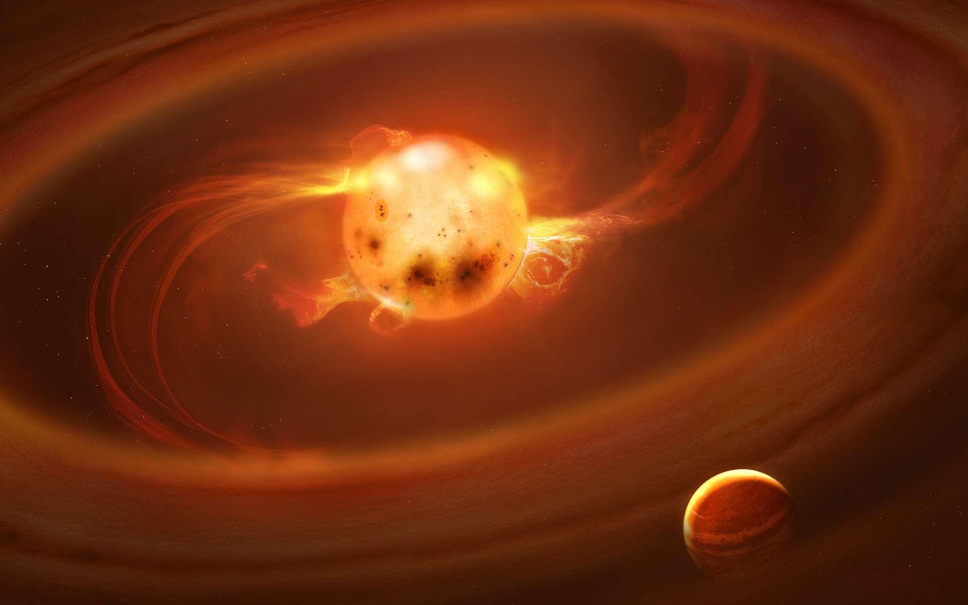 Les éruptions que notre Soleil a connues dans les premiers instants de sa vie — à l'échelle astronomique — ont probablement joué à un rôle capital dans l'apparition de la vie sur Terre. © MPIFA, Mark A. Garlick