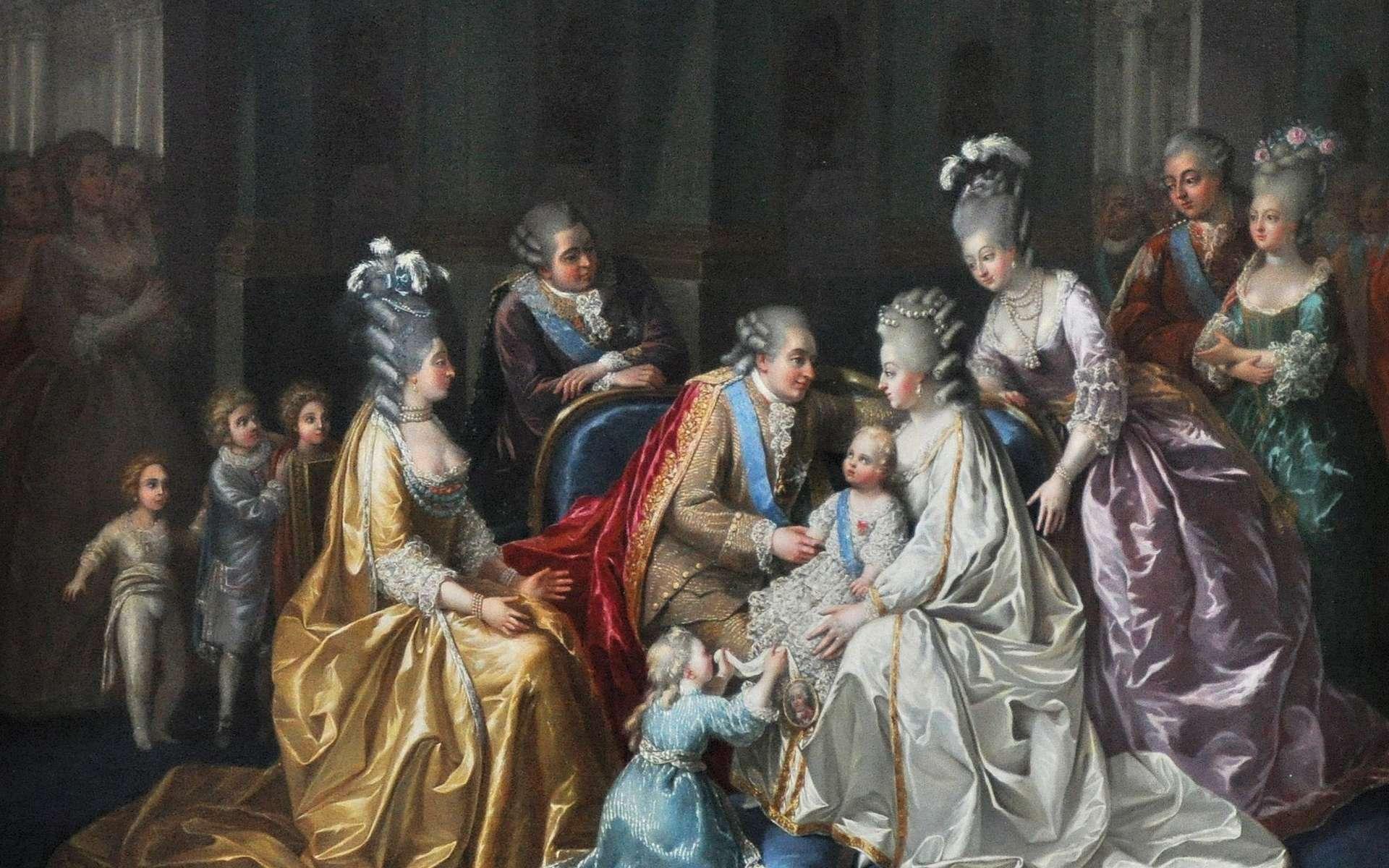 Les relations intimes ont été rares entre Louis XVI et Marie-Antoinette. Sur ce tableau, la famille royale est réunie autour du dauphin Louis-Joseph-Xavier-François en 1782. © Wikimedia Commons, cc by sa 3.0