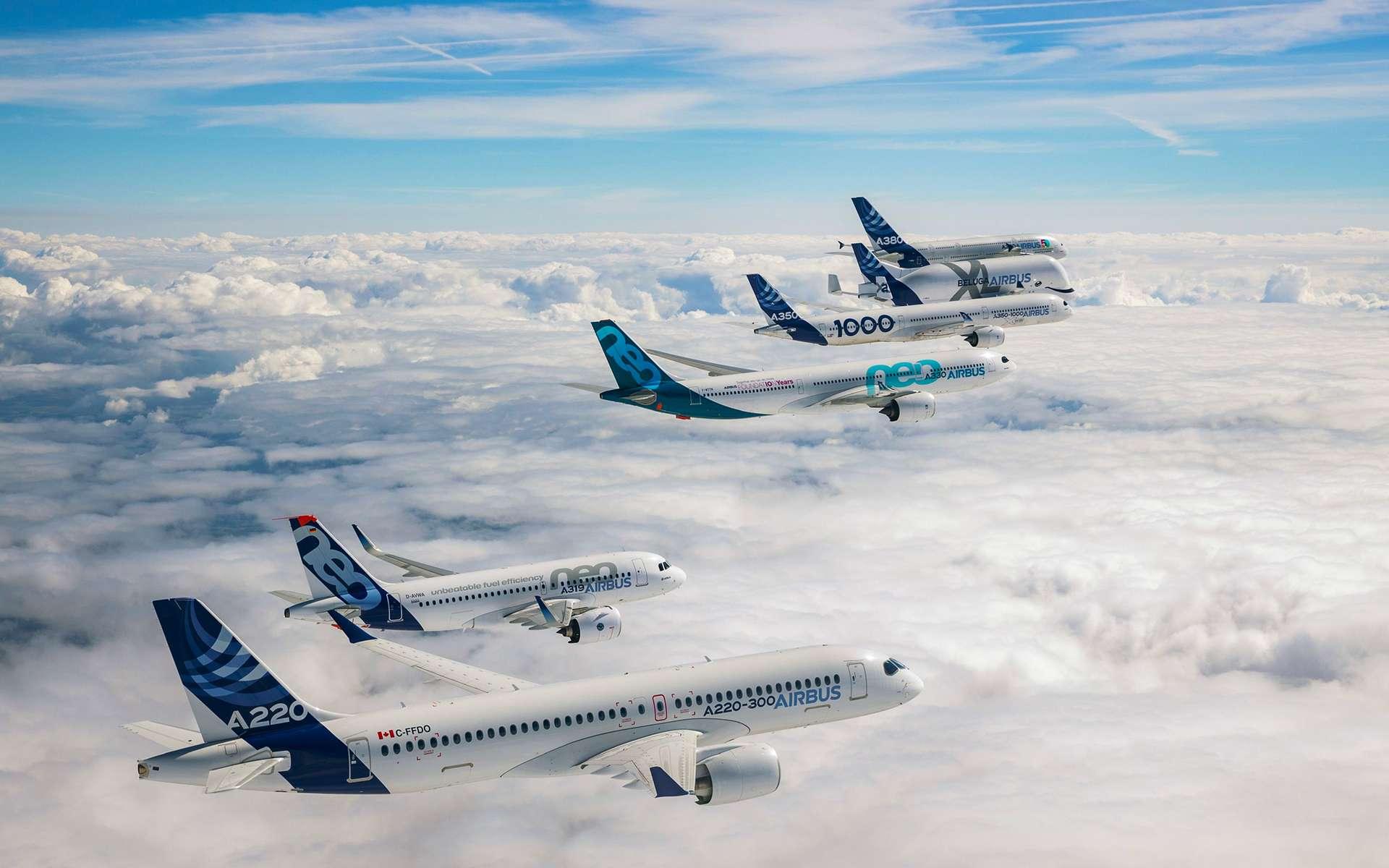 La gamme des avions commerciaux réunis en vol lors des 50 ans de l'avionneur européen. © Airbus, S. Ramadier