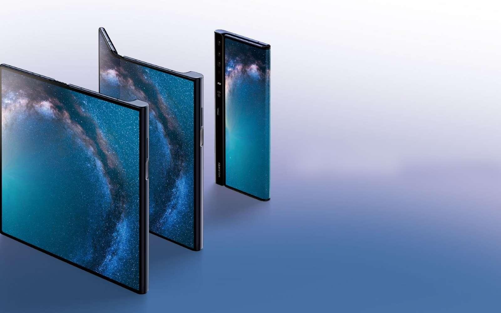 Une fois déplié, le Mate X d'Huawei se transforme en une véritable tablette de 8 pouces. L'écran est étiré au maximum pour laisser peu de place aux bordures. © Huawei