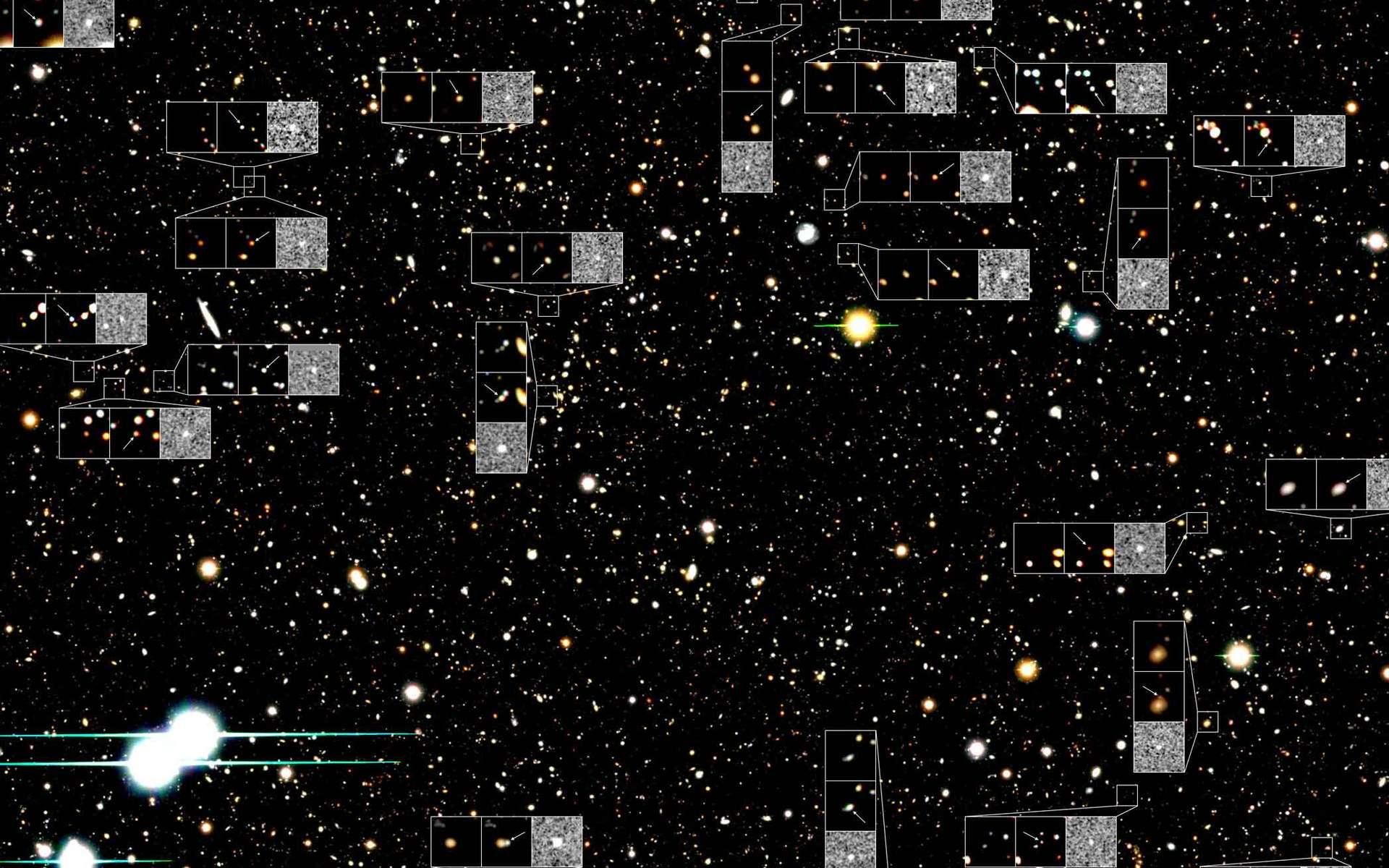Le Subaru Deep Field est une portion de la voûte céleste de la taille de la Lune dans laquelle les chercheurs ont fait leurs observations. On en voit ici une petite partie avec les SN Ia observées dans leurs galaxies. © NAOJ