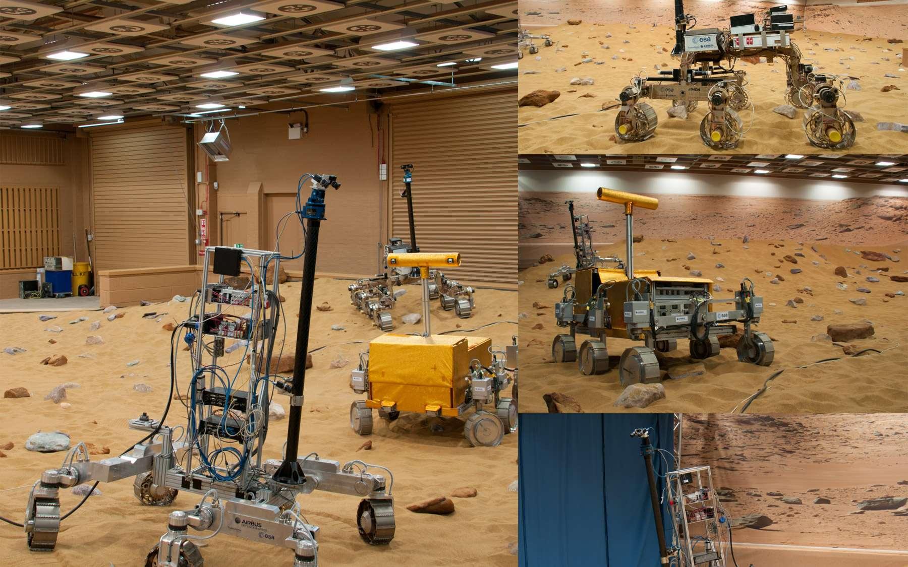 À droite, les trois concepts de d'Airbus Espace qui préparent la réalisation du futur rover de la mission ExoMars 2018. Bruno est en haut, Bridget au centre (aux prises avec un caillou qu'il franchira aisément) et Bryan en bas, ainsi que sur la vue de gauche. © Rémy Decourt