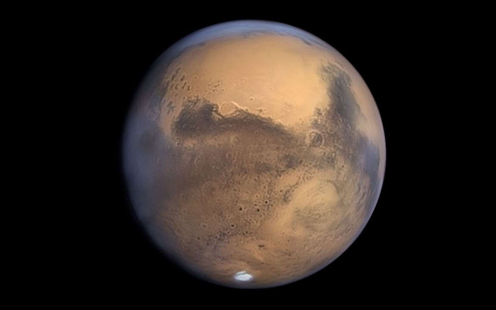Mars photographiée au Pic du Midi lors de l'opposition de 2020. © T. Legault, F. Colas, J.-L. Dauvergne