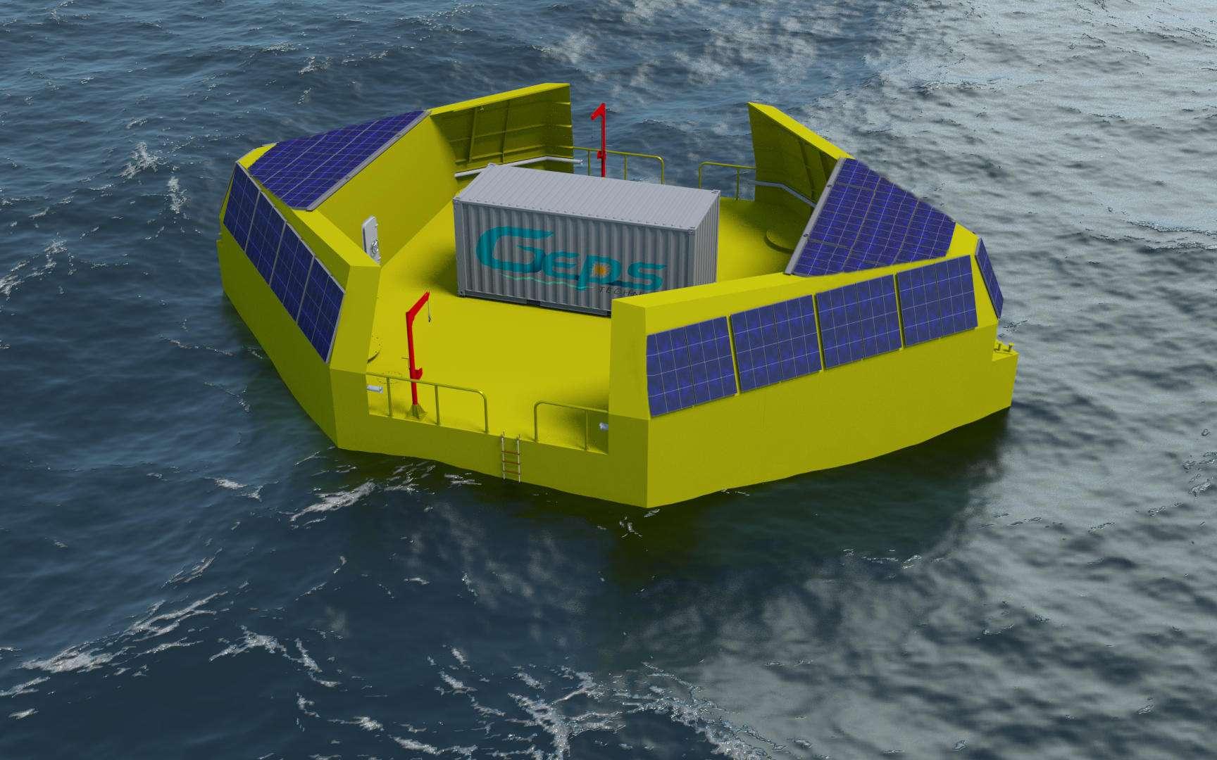 En mer, l'environnement fournit plusieurs énergies : le soleil, le vent, les vagues, la houle, la variation de température avec la profondeur et le courant. Multiplier les sources est donc une bonne manière de disposer d'un approvisionnement fiable pour garantir une autonomie énergétique en mer. © GEPS Techno