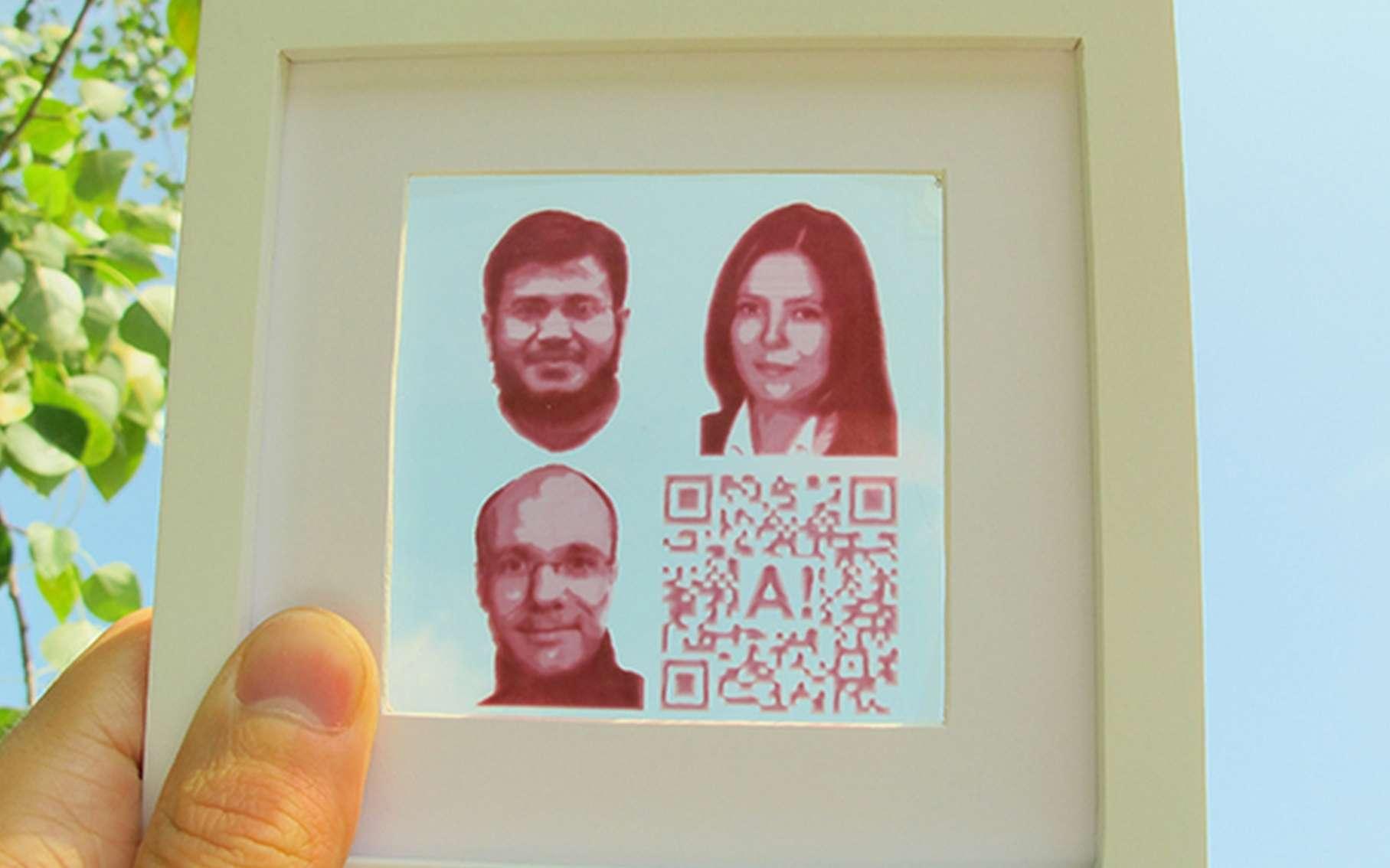 Voici un exemple d'image transformée en cellule photovoltaïque grâce à un procédé d'impression par jet d'encre. © Aalto University