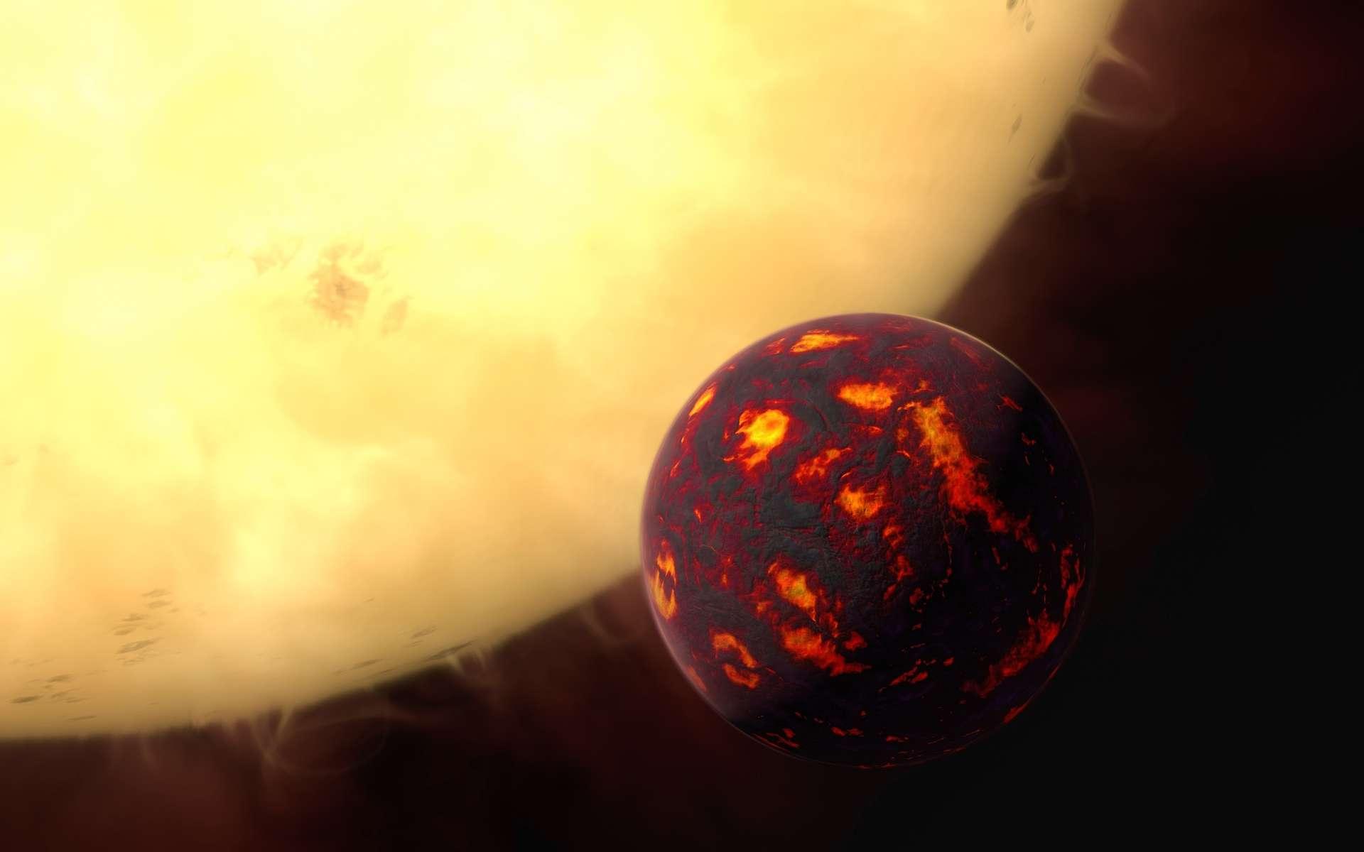 Illustration de 55 Cancri e, alias Janssen, passant devant son étoile. Cette superterre en diamant est située à seulement 40 années-lumière de nous. Son atmosphère ressemblerait à la nôtre. © ESA, Hubble, M. Kornmesser
