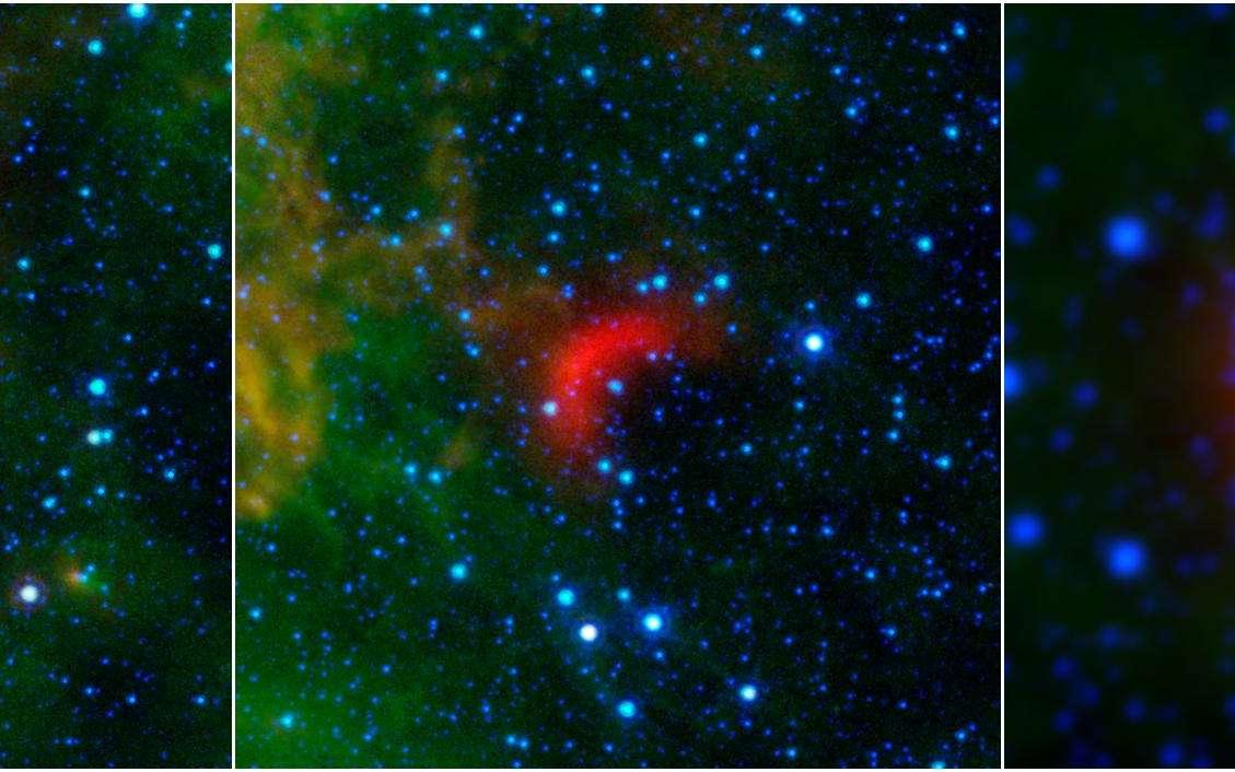 Les arcs de choc se forment à la proue d'étoiles massives en mouvement rapide par rapport au gaz interstellaire. La matière comprimée luit dans l'infrarouge (ici en rouge) et a pu être identifiée dans les données de Spitzer et Wise. Sur l'image de Wise, à droite, deux étoiles en cavale sont précédées d'arcs de choc. © Nasa, JPL-Caltech, University of Wyoming