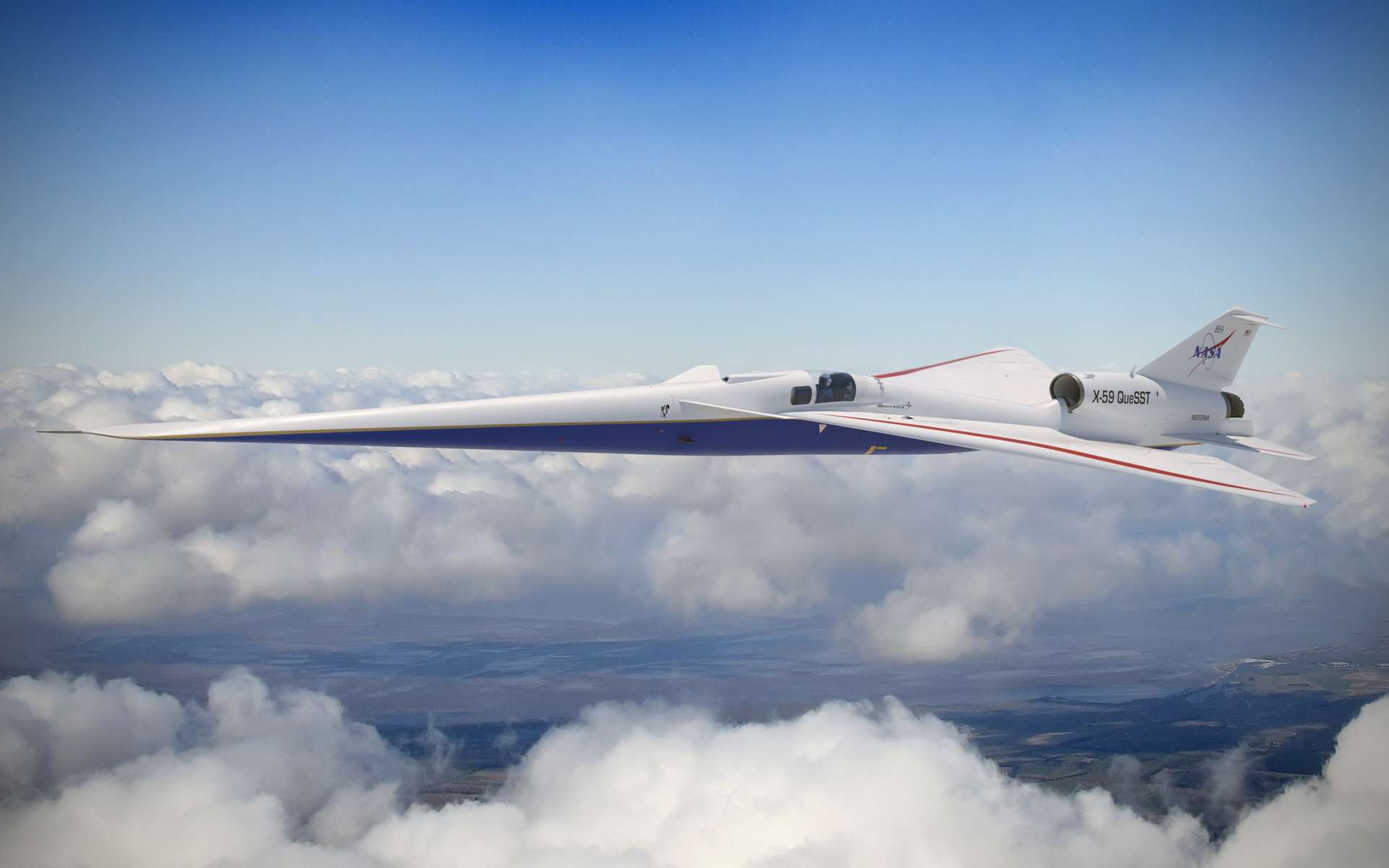Le X-59 développé par Lockheed Martin et la Nasa est conçu pour produire un boom supersonique ultra-discret. © Lockheed Martin