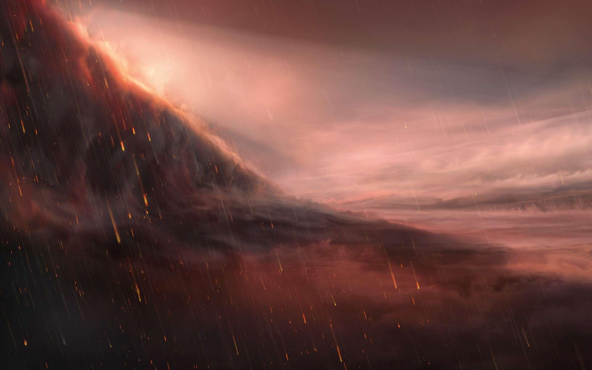 Cette illustration représente la face nocturne de l'exoplanète WASP-76b. La face éclairée de cette exoplanète géante et ultra-chaude voit sa température grimper au-delà des 2.400 degrés Celsius, ce qui suffit à vaporiser les métaux. De forts vents charrient la vapeur de fer vers la face nocturne de moindre température où elle se condense en gouttelettes de fer. À gauche de l'image, figure la frontière du soir, où s'effectue la transition jour-nuit à la surface de l'exoplanète. © ESO/M. Kornmesser