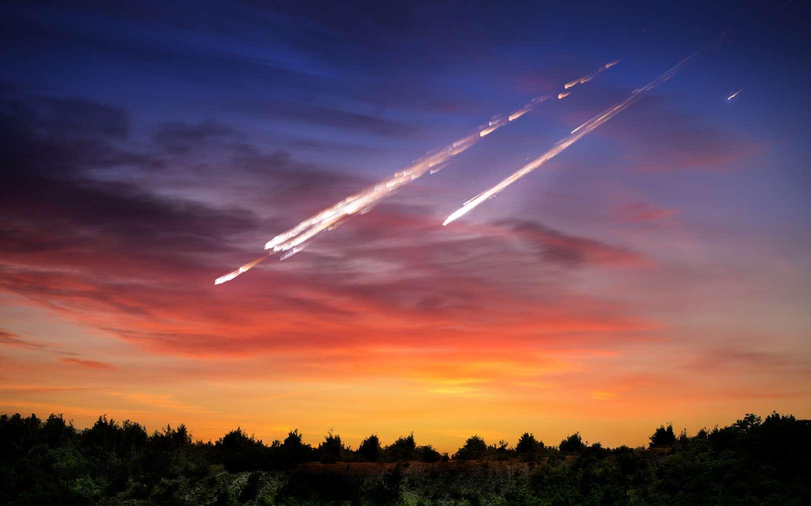 Illustration d'une pluie de météorites. © Tryfonov, fotolia