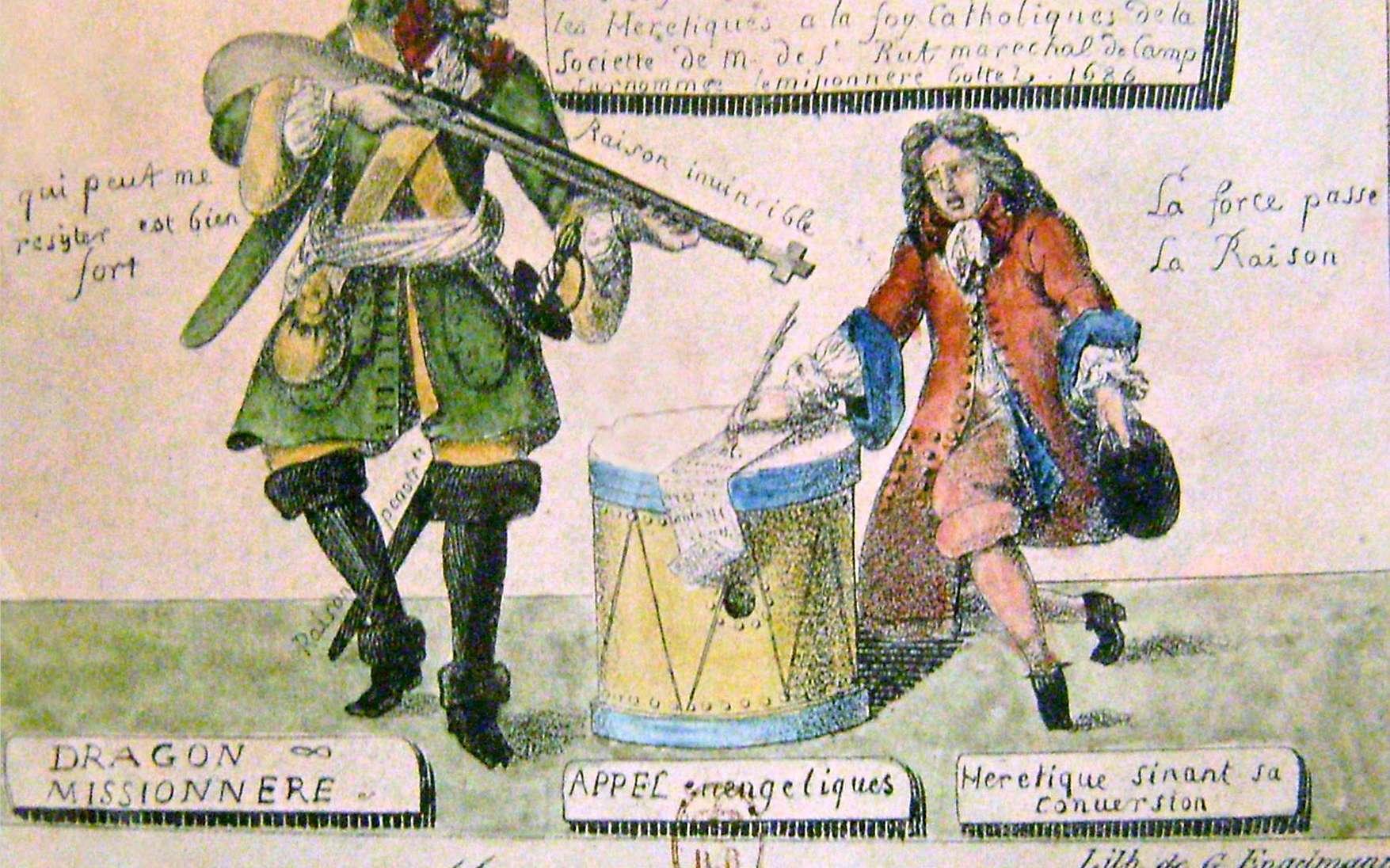 Les dragonnades. © Godefroy Engelmann d'après un dessin de 1686. Wikimedia Commons, Musée internationale de la Réforme protestante, Genève (Suisse), DP