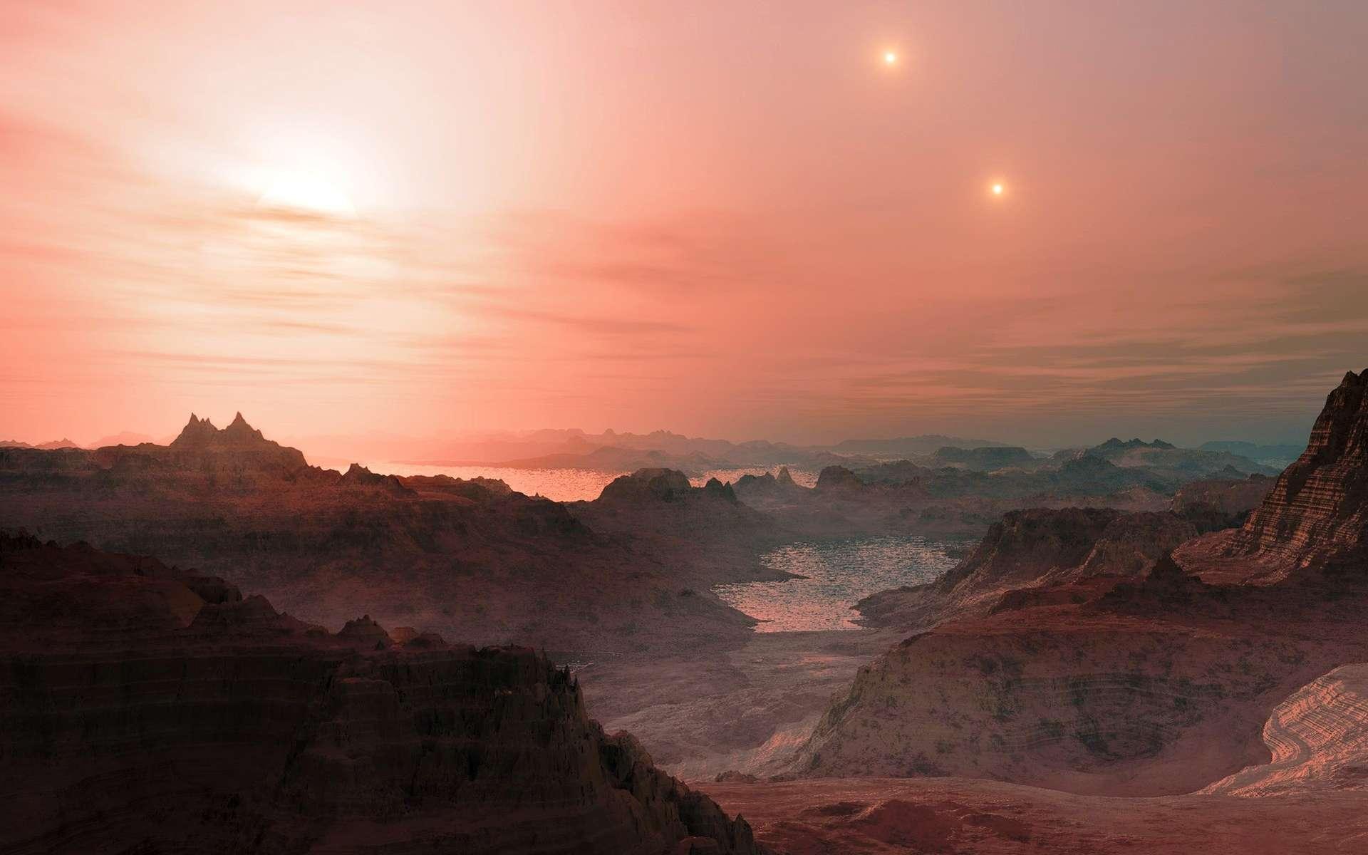 Vue d'artiste d'une planète habitable comme il en existe peut-être autour de Proxima du Centaure, une naine rouge. On peut voir deux étoiles au loin car cette naine rouge fait partie d'un système triple d'étoiles. © ESO/L. Calçada