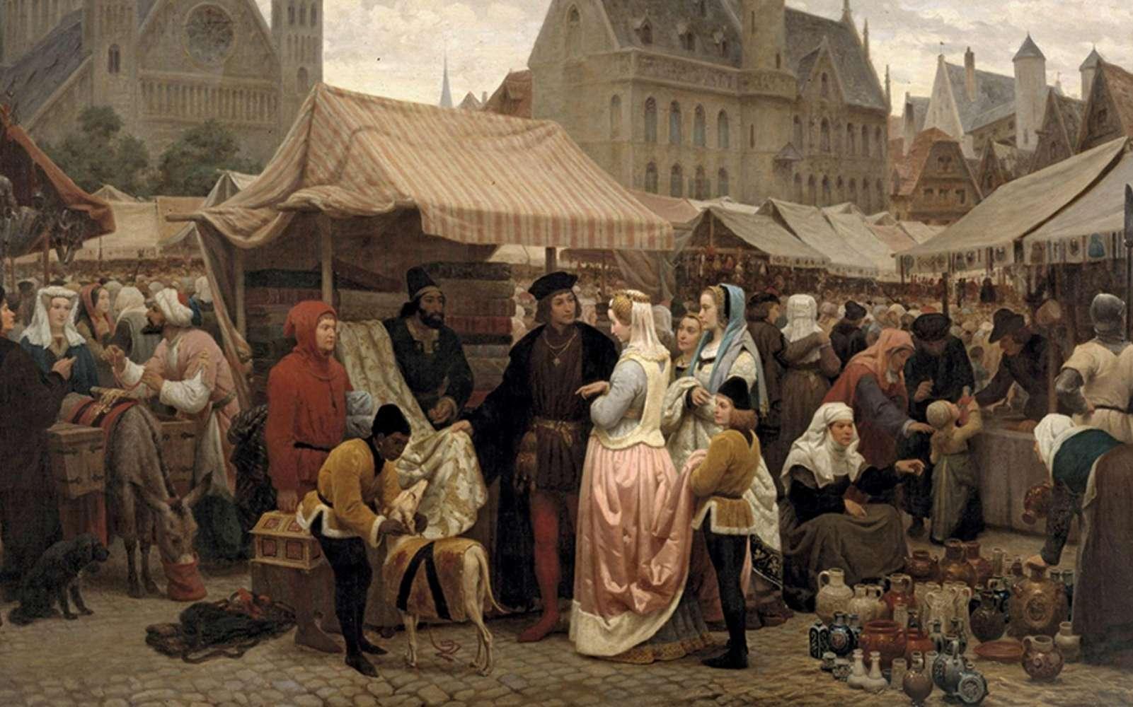 Une foire à Gand, au Moyen Âge. Huile sur toile de Félix de Vigne (1806-1862). © Wikimedia Commons, DP