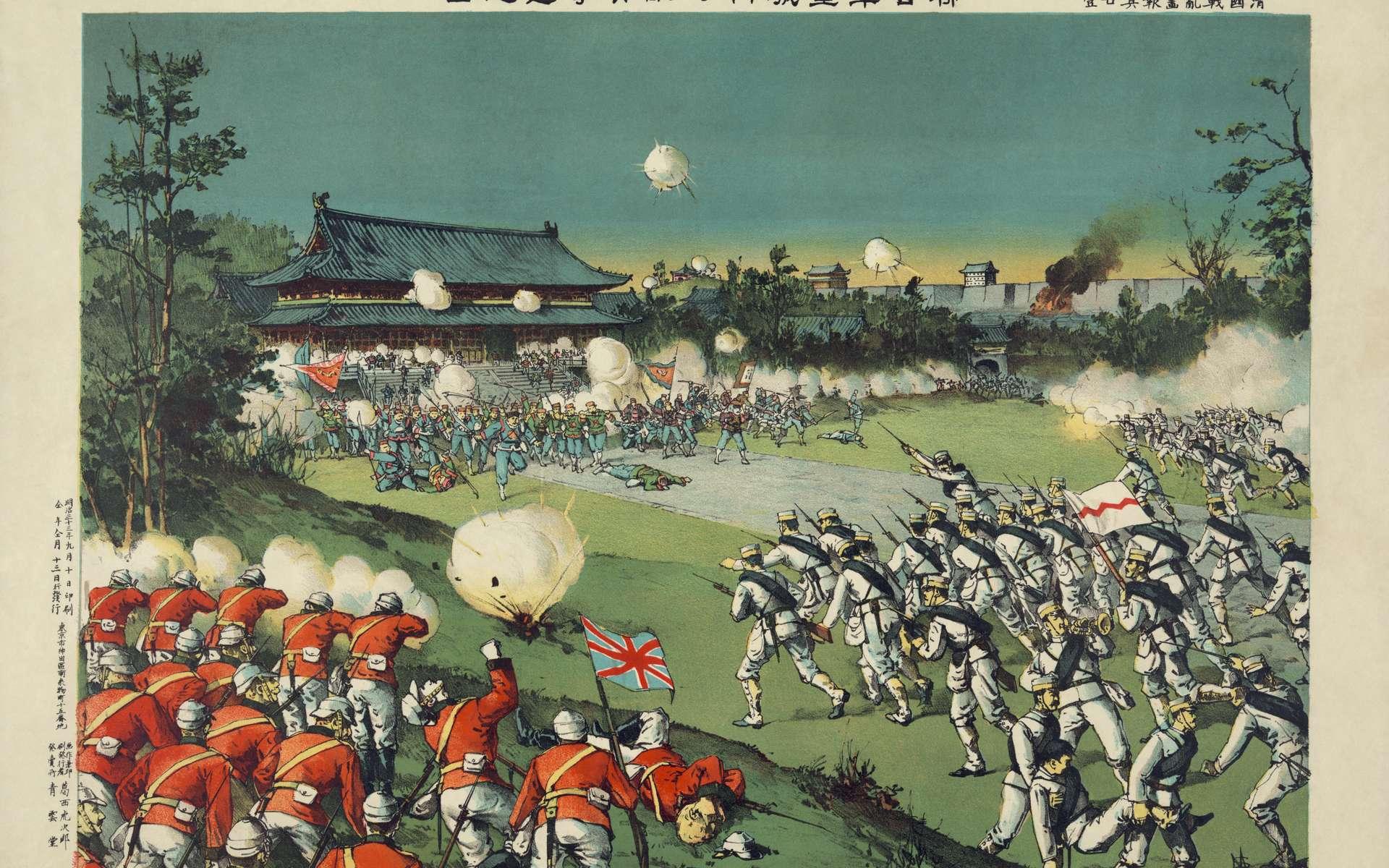 Prise du palais impérial à Pékin par les troupes occidentales © Torajirō Kasai, Wikimedia Commons, domaine public