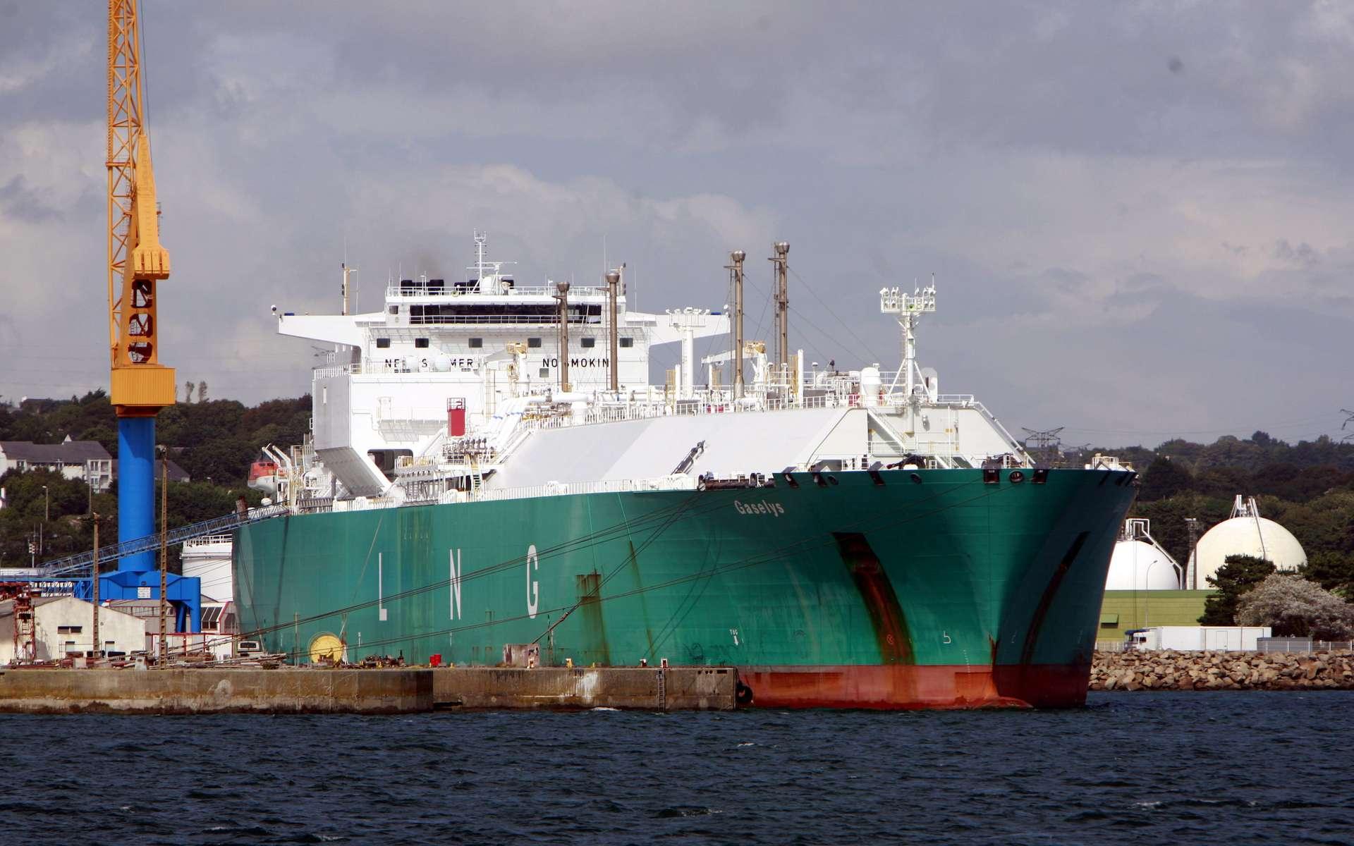 Le méthanier Gaselys peut transporter plus de 150.000 m3 de GNL.. © Rama, Wikipedia, CC by-SA 2.0