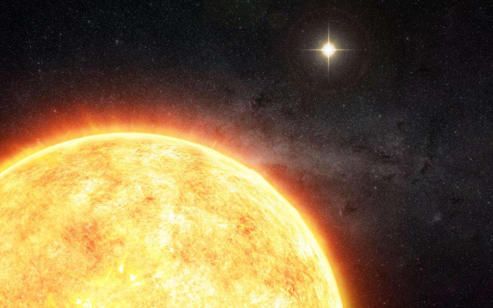 Illustration montrant le Soleil en couple avec une étoile née dans le même nid que lui, il plus de quatre milliards et demi d'années. © M. Weiss