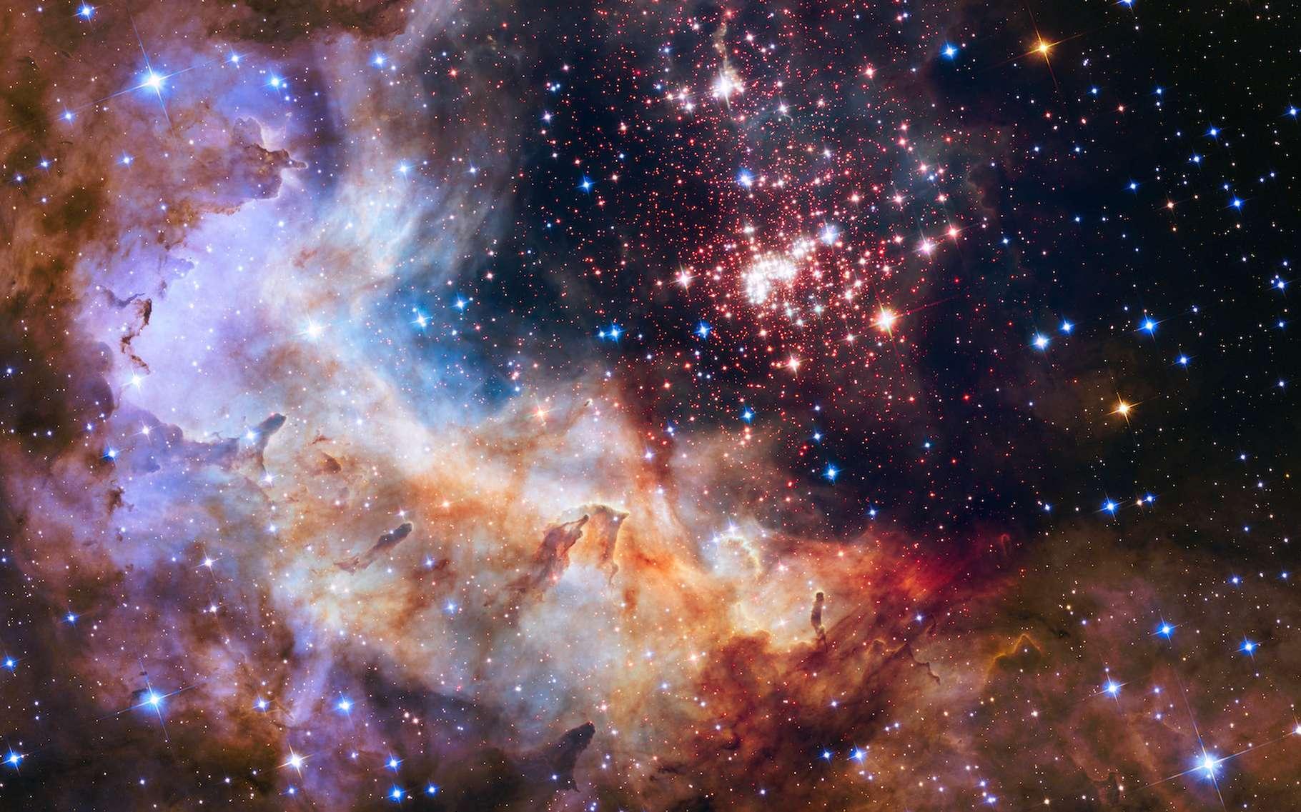 L'amas stellaire Westerlund 2 a été étudié par des astronomes grâce à des images prises par le télescope spatial Hubble. De quoi découvrir à quel point la présence d'étoiles massives dans une région peut perturber l'environnement des autres étoiles. © The Hubble Heritage Team (STScI/AURA), A. Nota (ESA/STScI), and the Westerlund 2 Science Team, Nasa, ESA